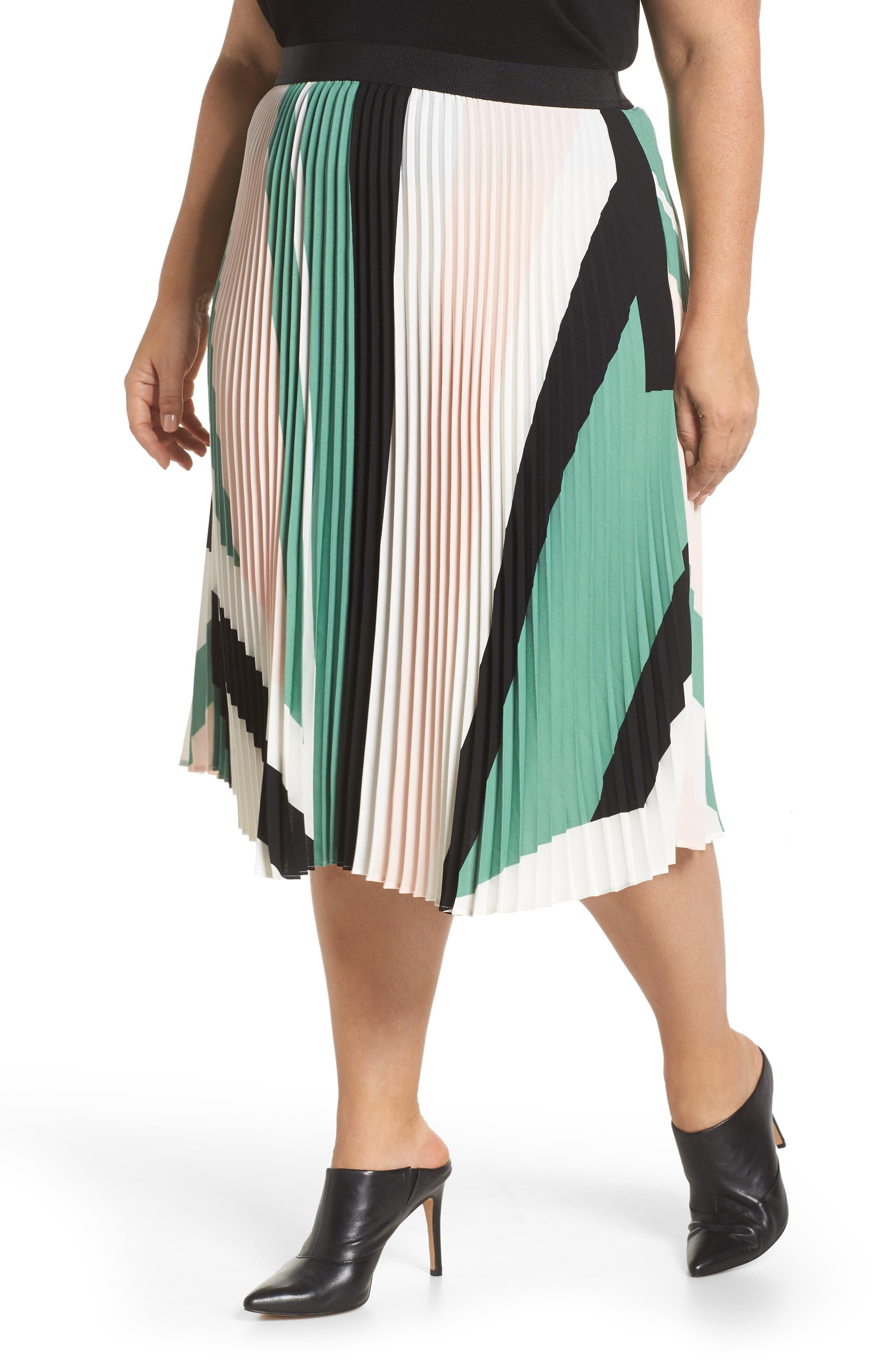 LEITH, Pleated Midi Skirt, Alternate thumbnail 2, color, PINK CHINTZ TRIANGLE STRIPE