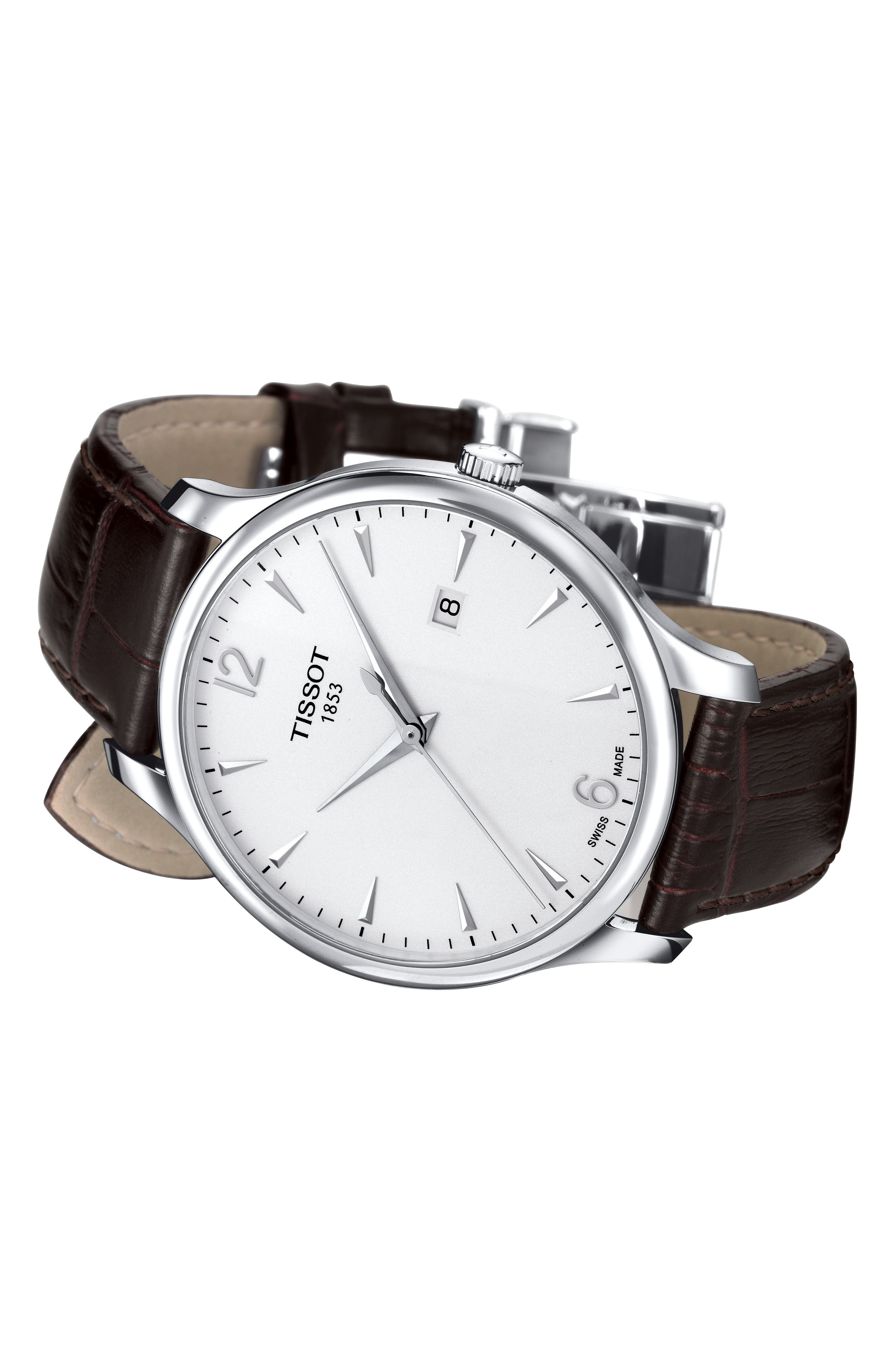 TISSOT, Tradition Leather Strap Watch, 42mm, Alternate thumbnail 4, color, BROWN/ SILVER