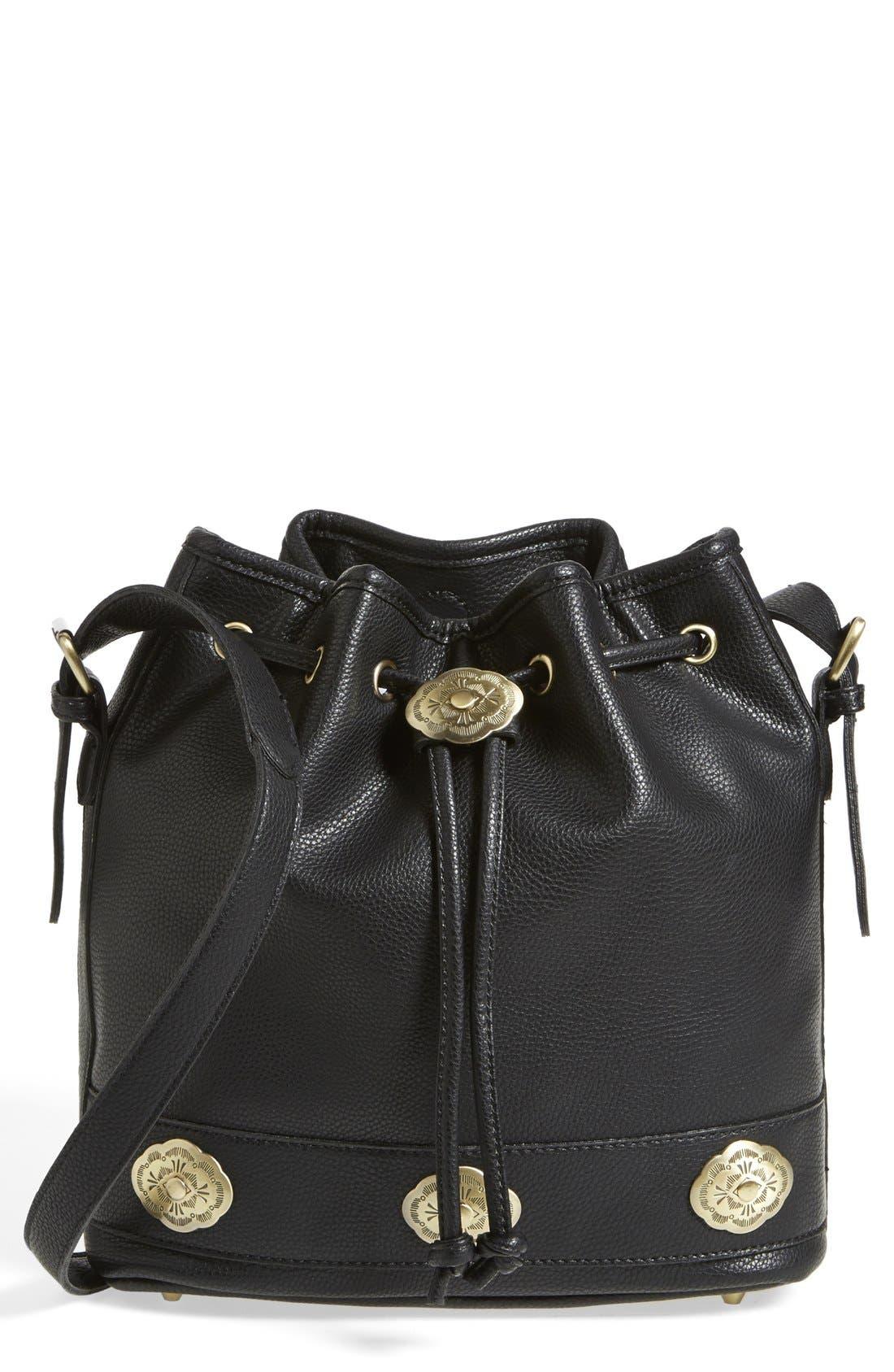 STREET LEVEL 'Concha' Faux Leather Bucket Bag, Main, color, 001