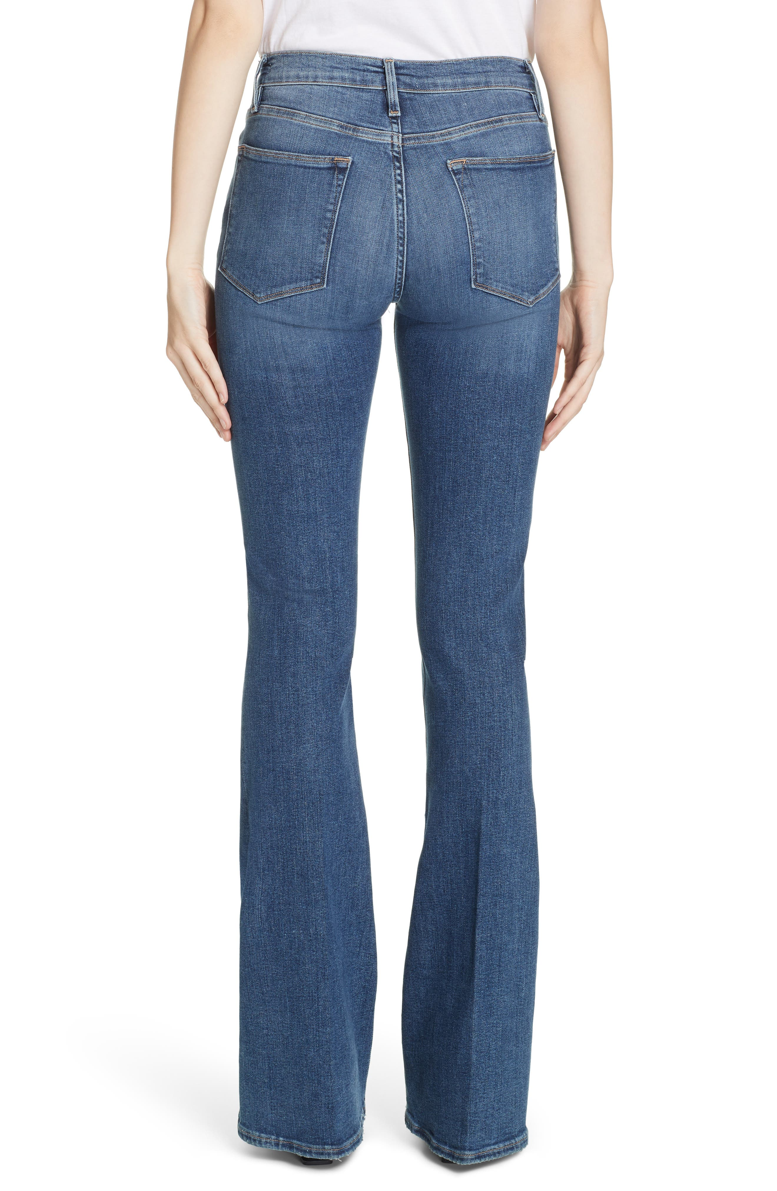 FRAME, Le High Flare Jeans, Alternate thumbnail 4, color, CRISTALLO