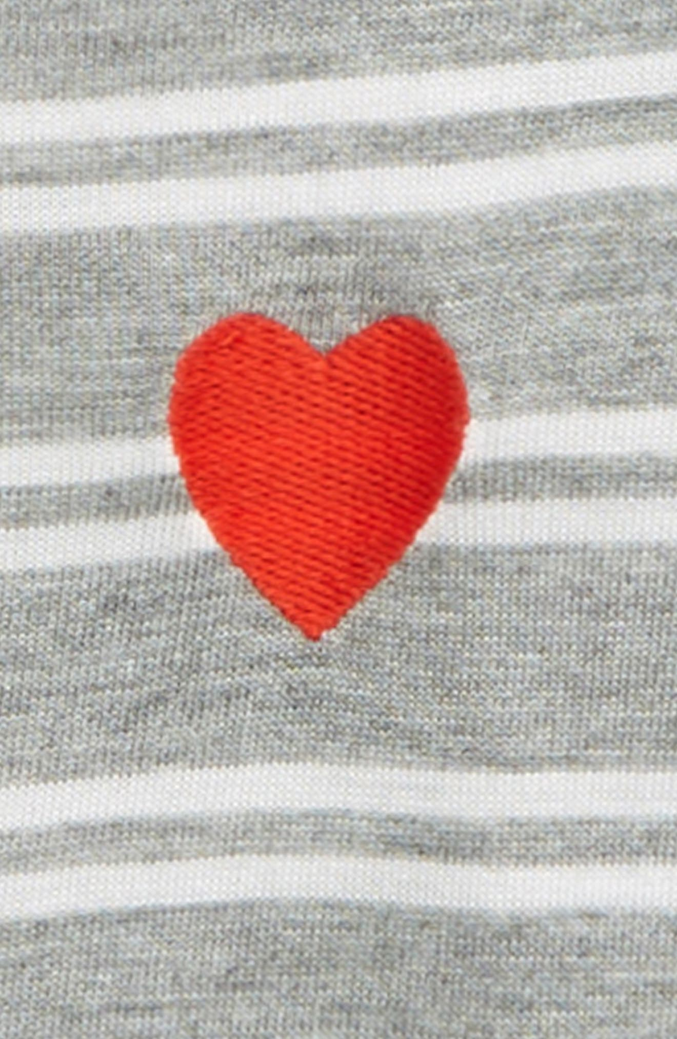 TUCKER + TATE, Embroidered Stripe Tee, Alternate thumbnail 2, color, GREY MEDIUM HEATHER STRIPE