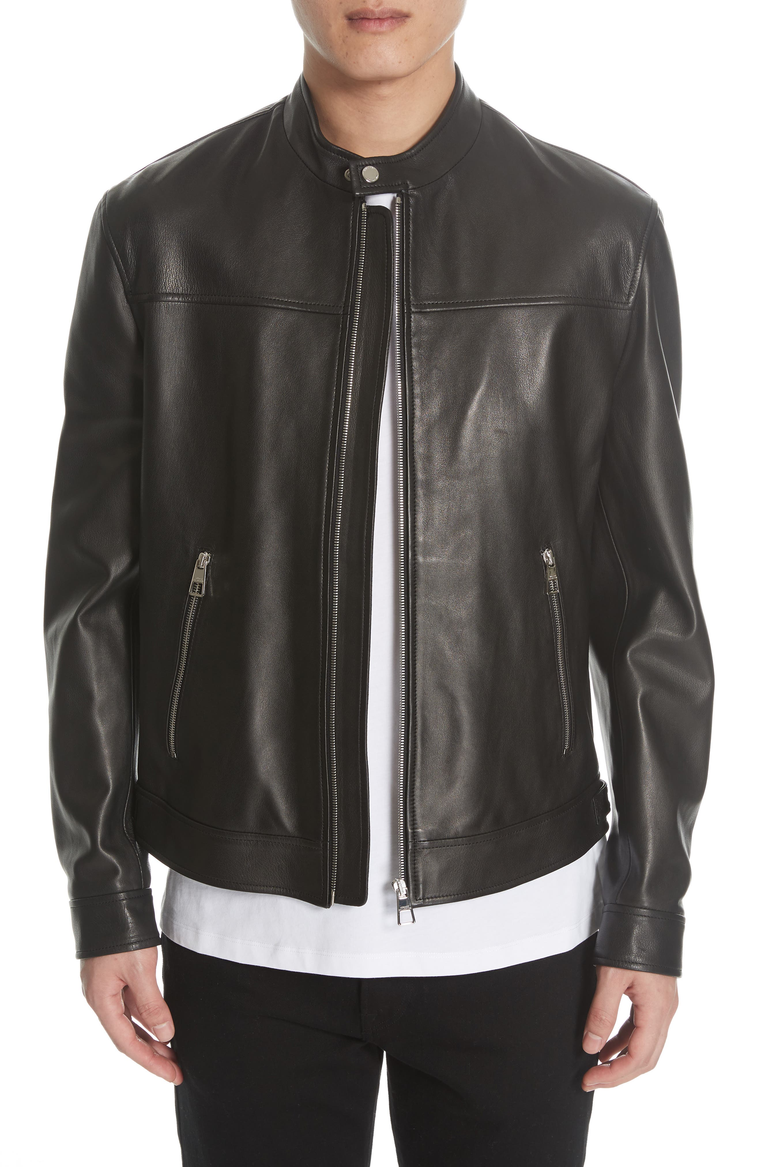 VERSACE COLLECTION, Lambskin Leather Jacket, Main thumbnail 1, color, 001