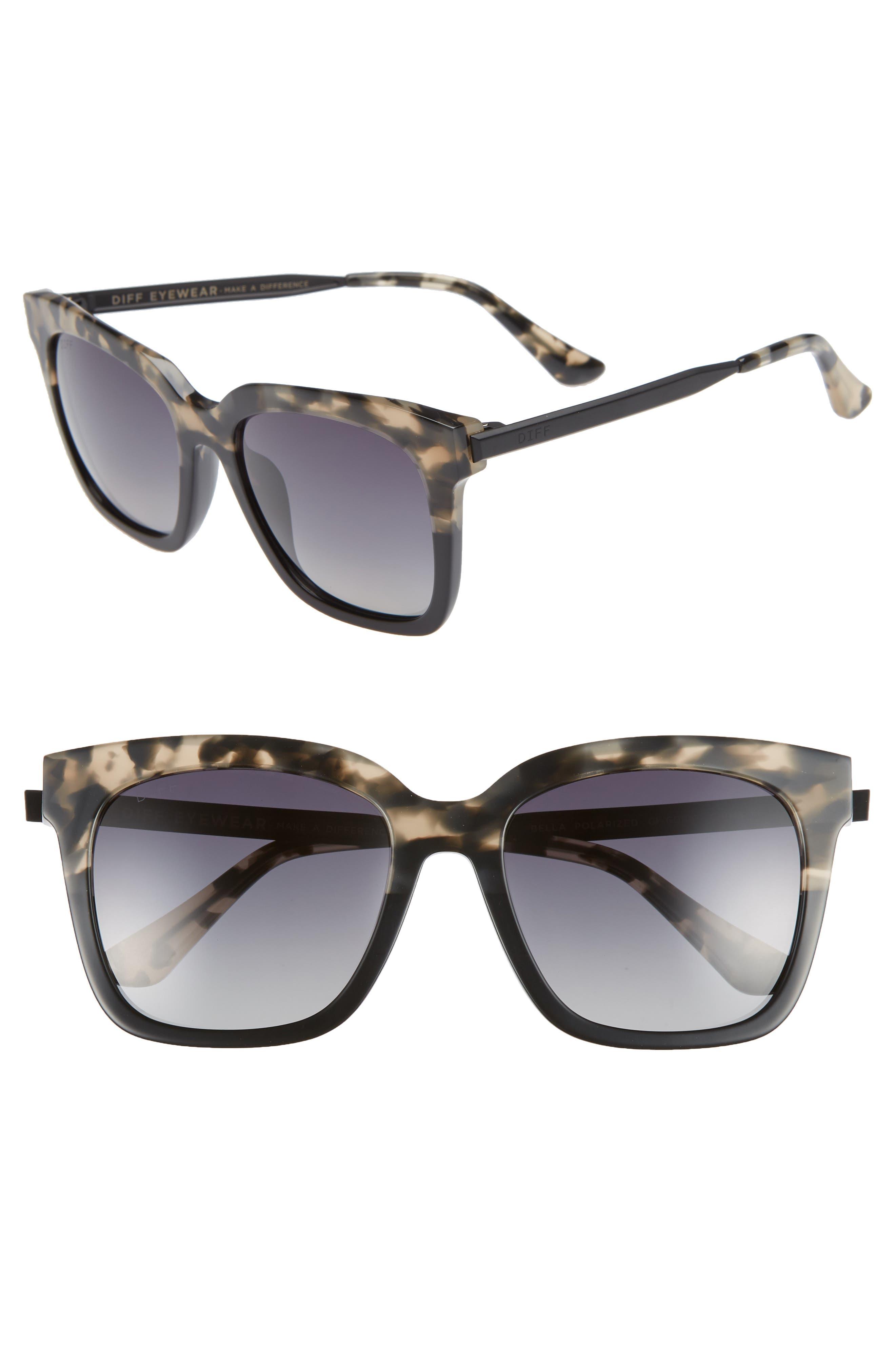 DIFF, Bella 52mm Polarized Sunglasses, Main thumbnail 1, color, GREY FAGE/ GREY