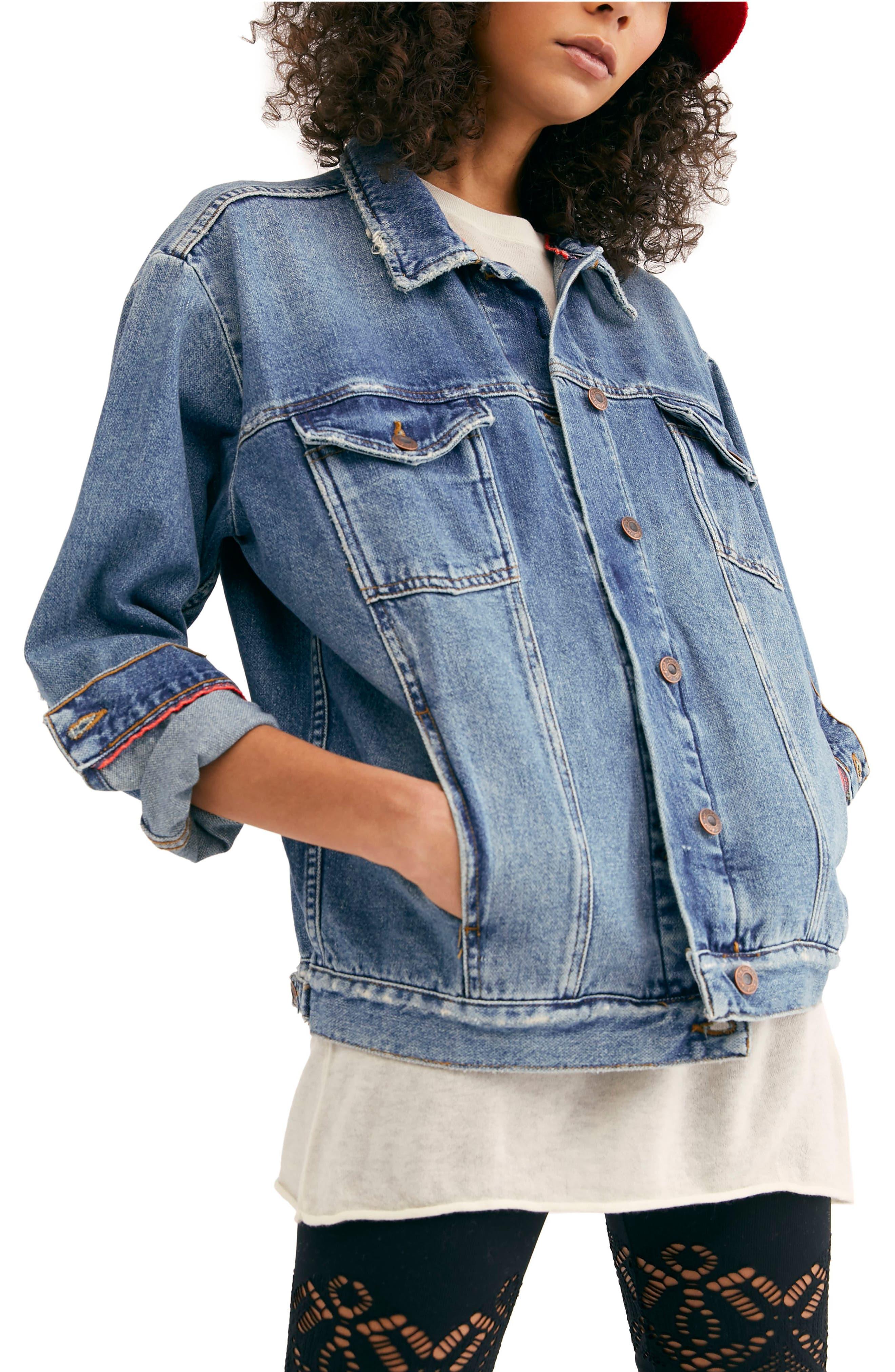 FREE PEOPLE, Ramona Denim Trucker Jacket, Main thumbnail 1, color, INDIGO BLUE