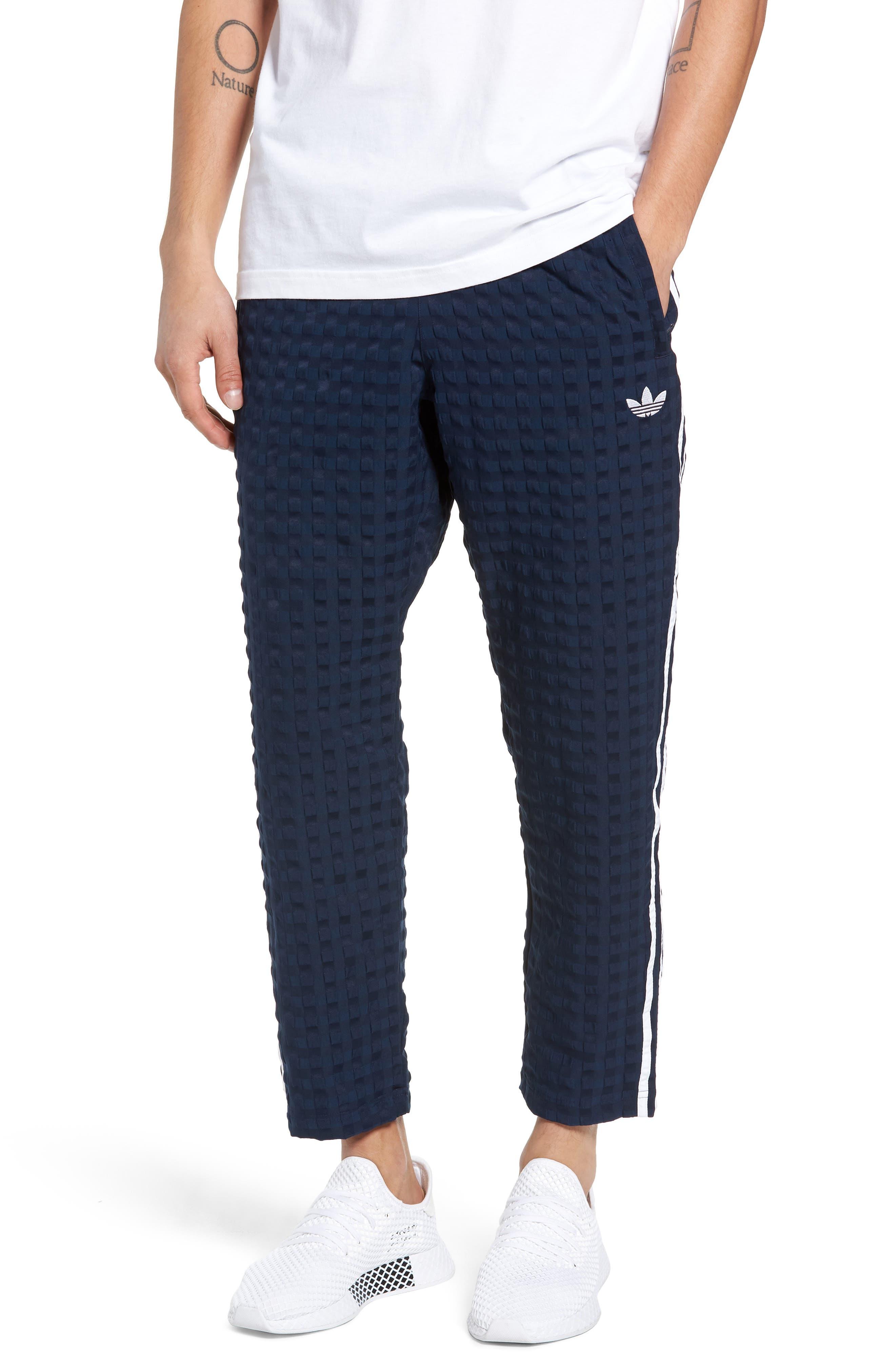 ADIDAS ORIGINALS Check Seersucker Track Pants, Main, color, COLLEGIATE NAVY