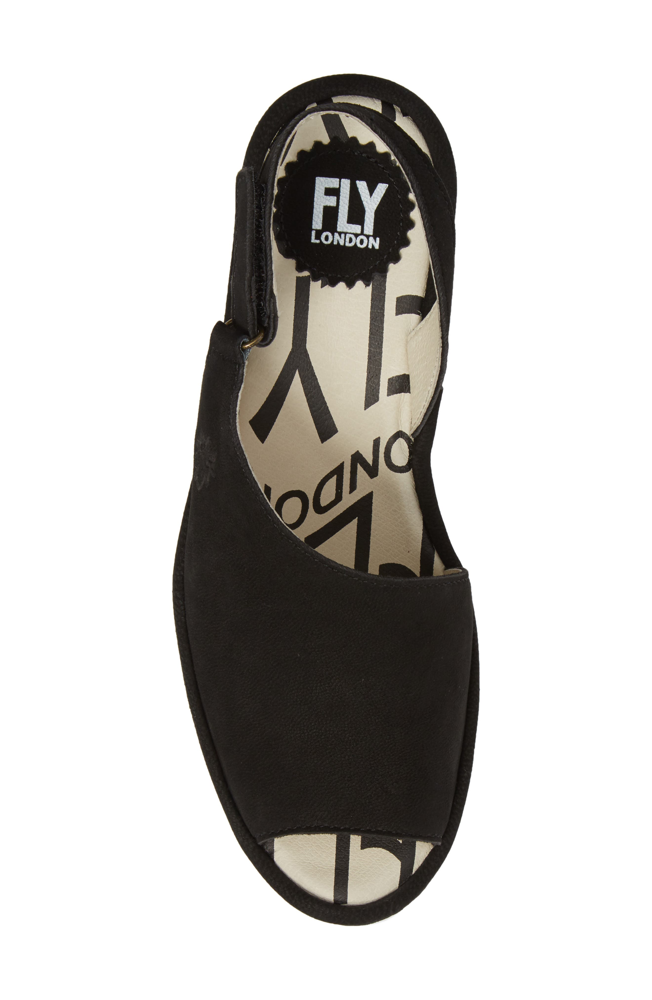 FLY LONDON, Palp Wedge Sandal, Alternate thumbnail 5, color, BLACK CUPIDO LEATHER