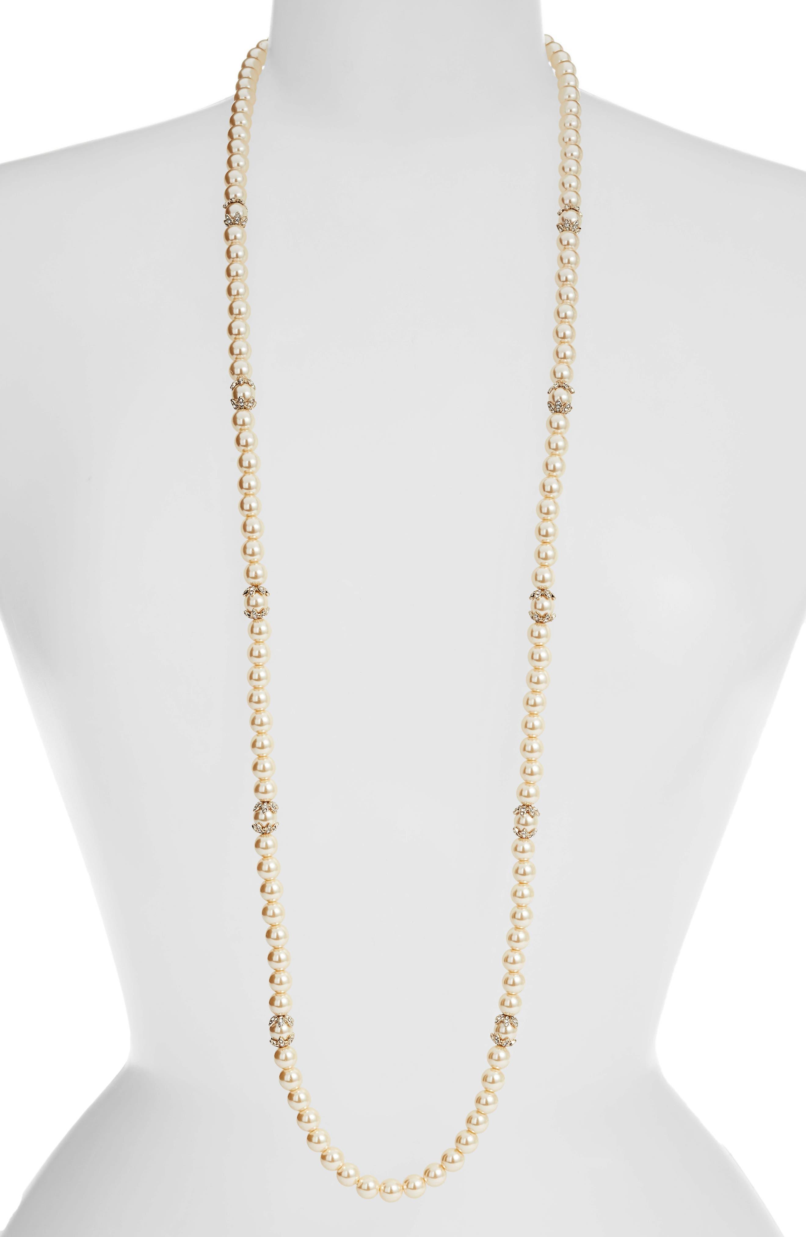 MARCHESA, Long Imitation Pearl Strand Necklace, Main thumbnail 1, color, BLUSH/ GOLD