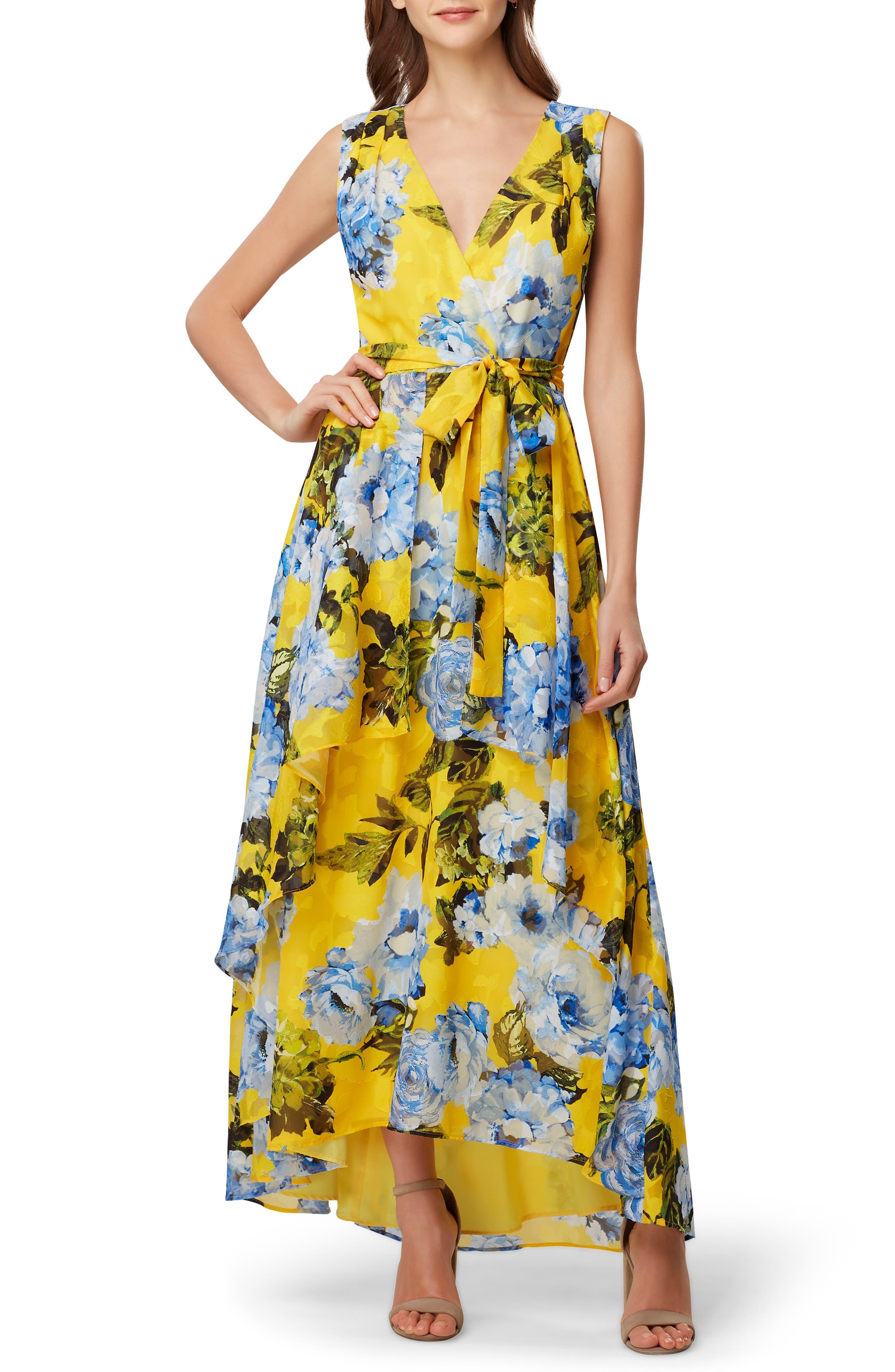 Tahari Print Jacquard Maxi Dress, Yellow