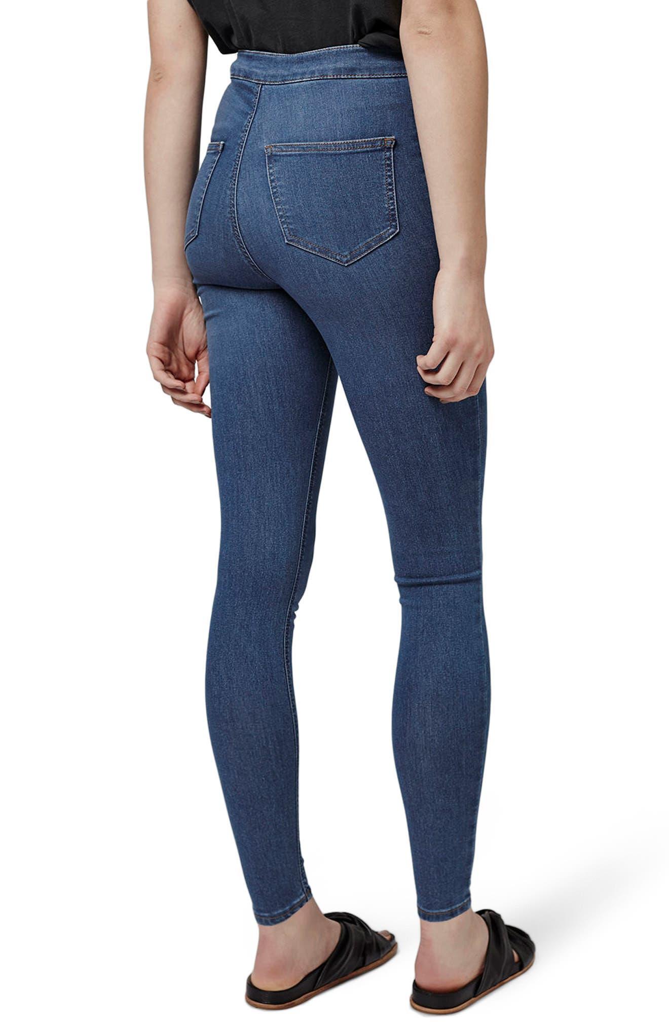 TOPSHOP, Joni Mid Denim Jeans, Alternate thumbnail 2, color, MID DENIM