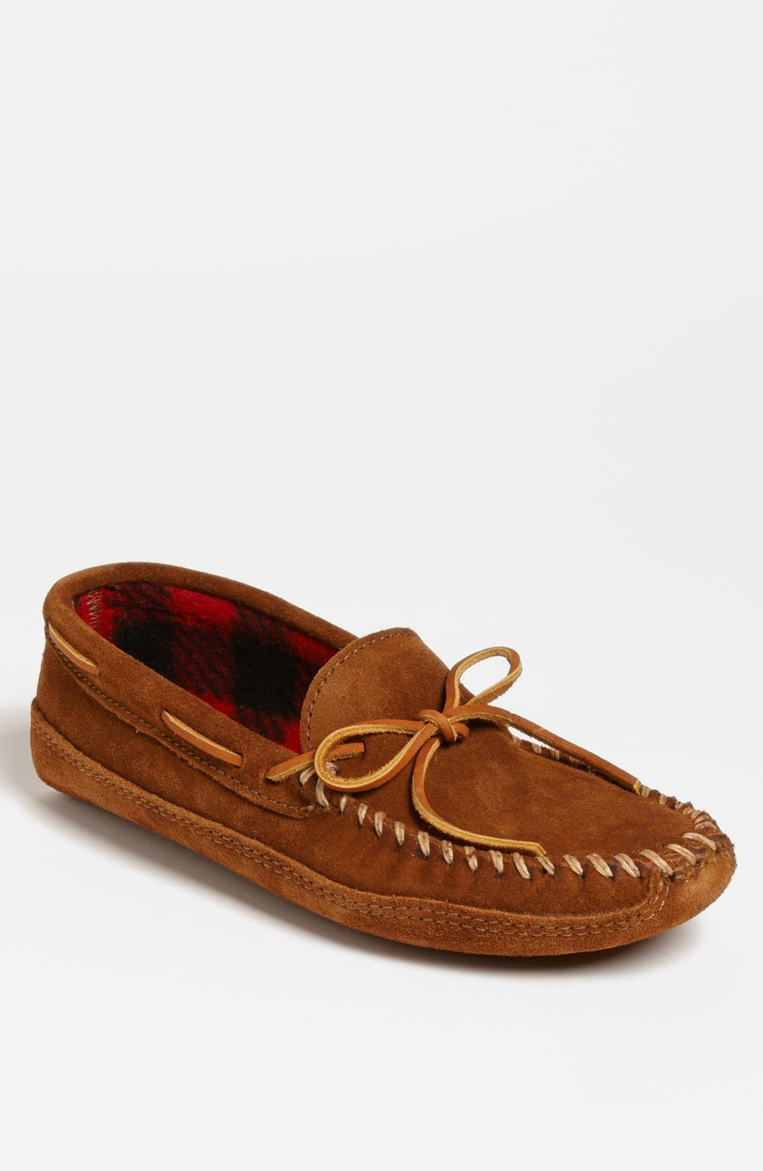 MINNETONKA, Suede Moccasin, Main thumbnail 1, color, BROWN SUEDE