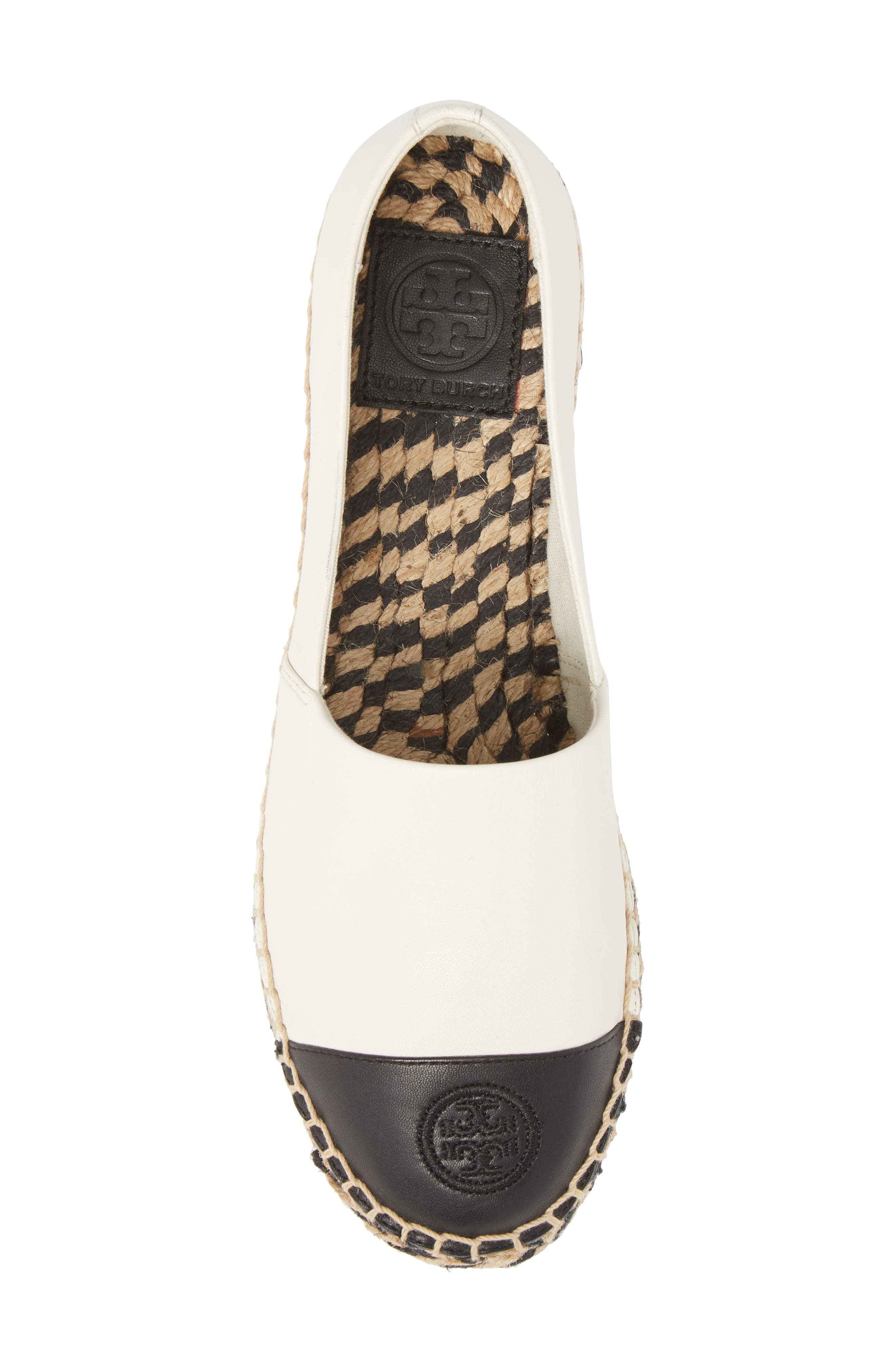 TORY BURCH, Colorblock Platform Espadrille, Alternate thumbnail 5, color, PERFECT IVORY/ PERFECT BLACK