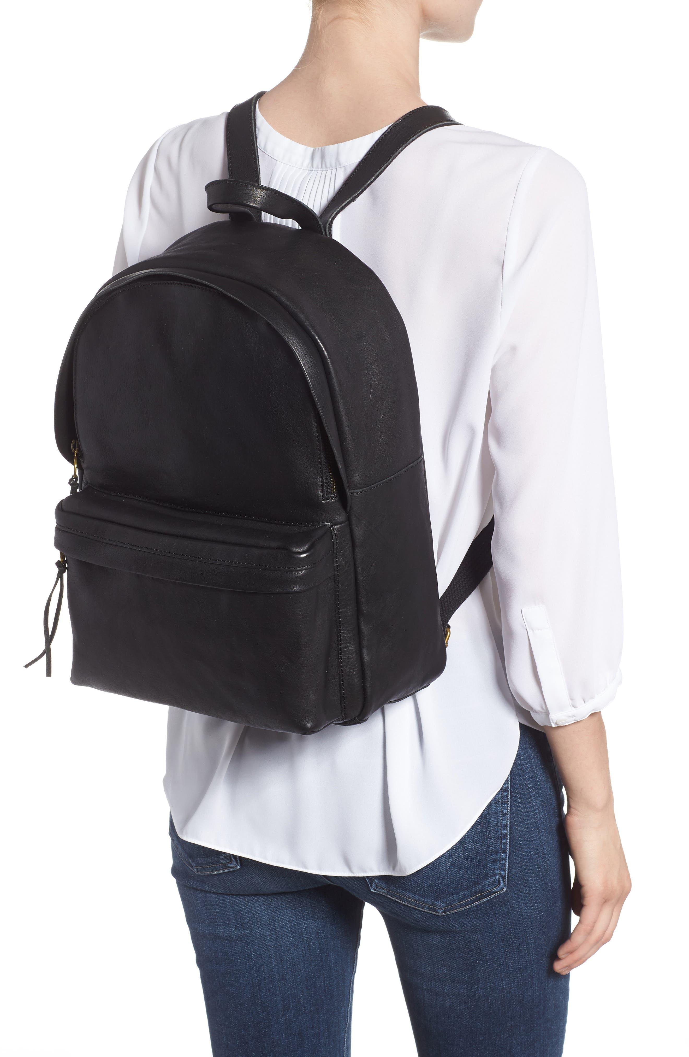 MADEWELL, Lorimer Leather Backpack, Alternate thumbnail 2, color, TRUE BLACK