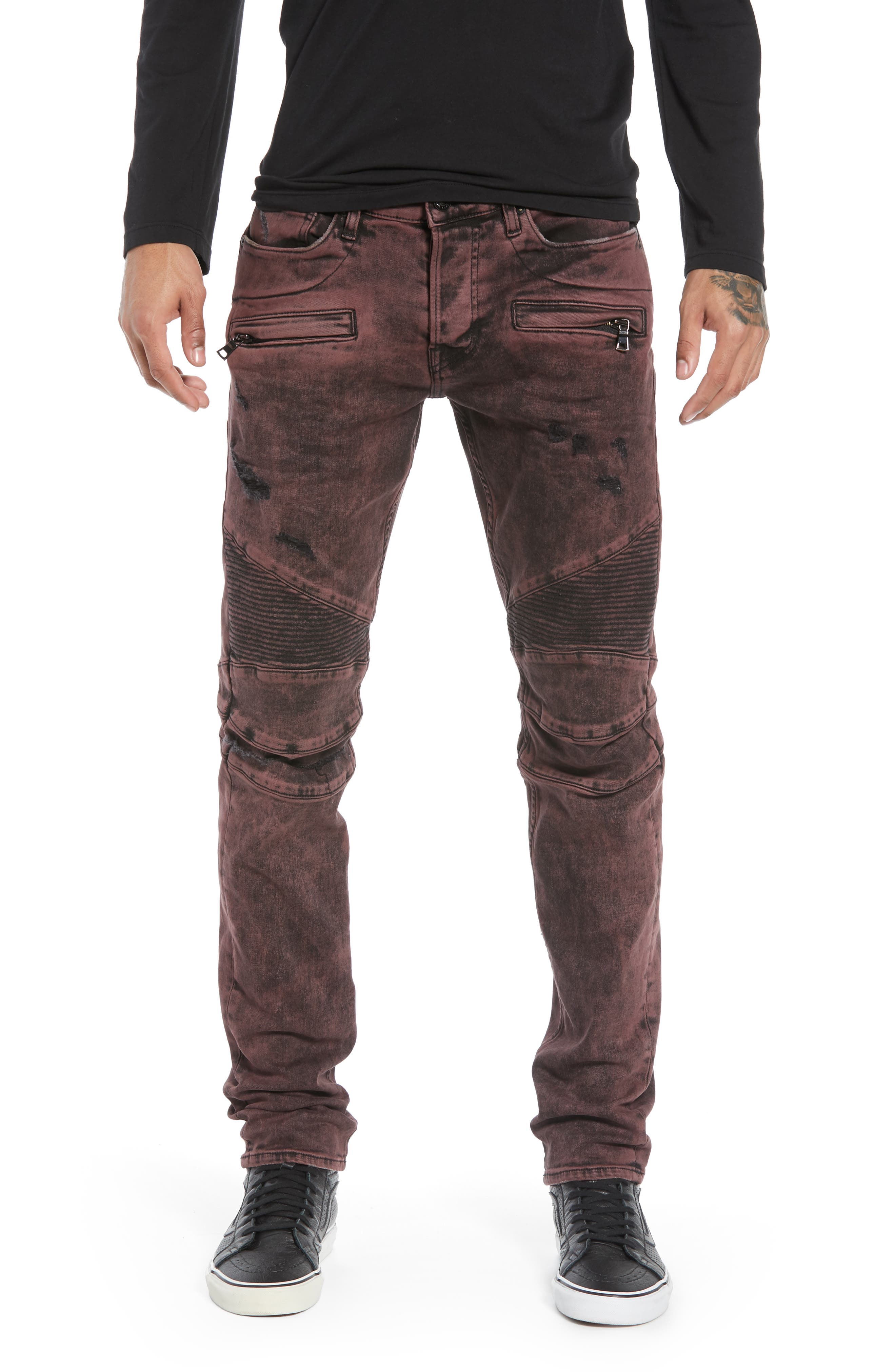 HUDSON JEANS, Blinder Biker Skinny Fit Jeans, Main thumbnail 1, color, FADED OX BLOOD