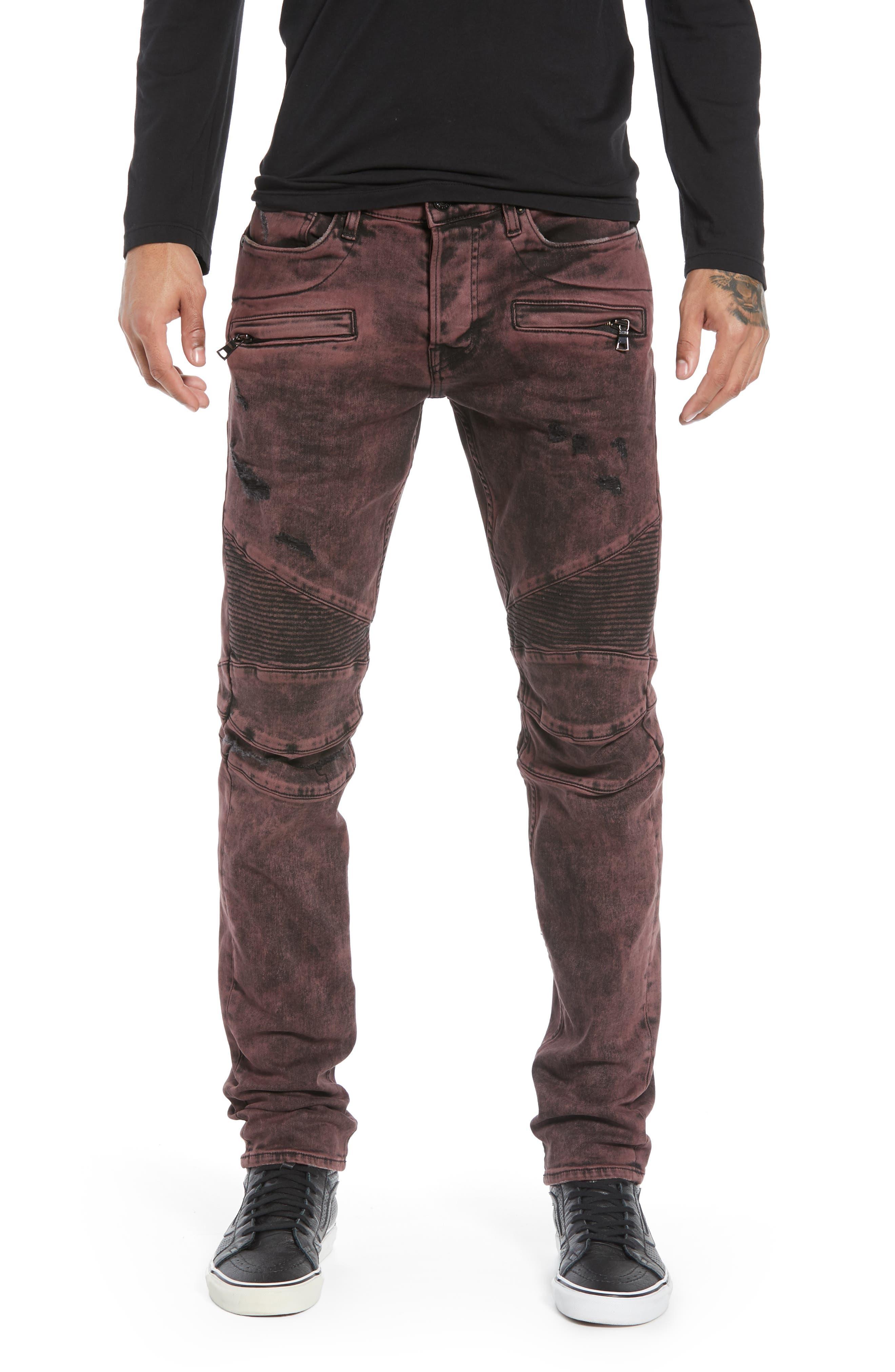 HUDSON JEANS Blinder Biker Skinny Fit Jeans, Main, color, FADED OX BLOOD
