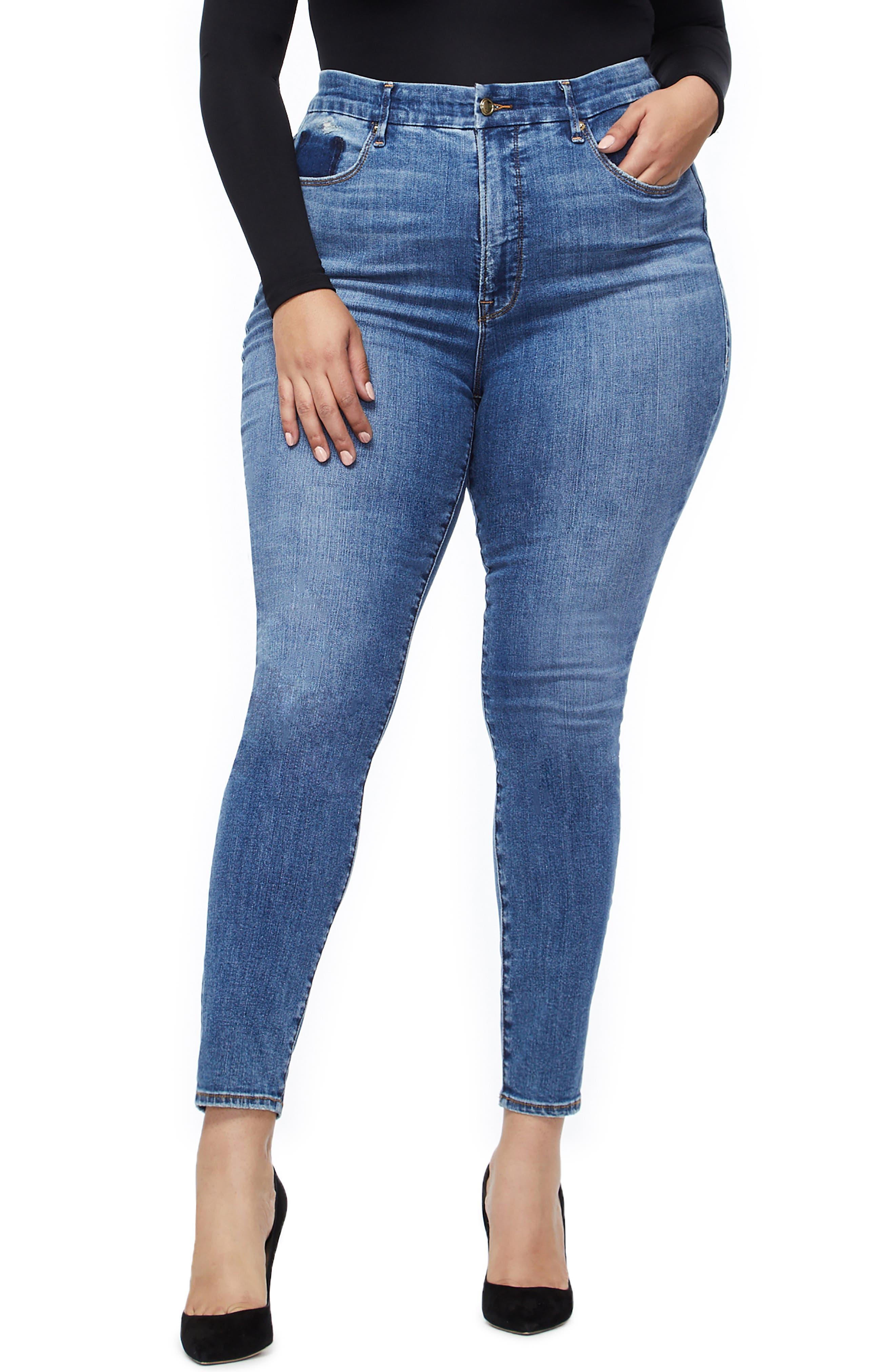 GOOD AMERICAN, Good Waist High Waist Skinny Jeans, Alternate thumbnail 2, color, BLUE213
