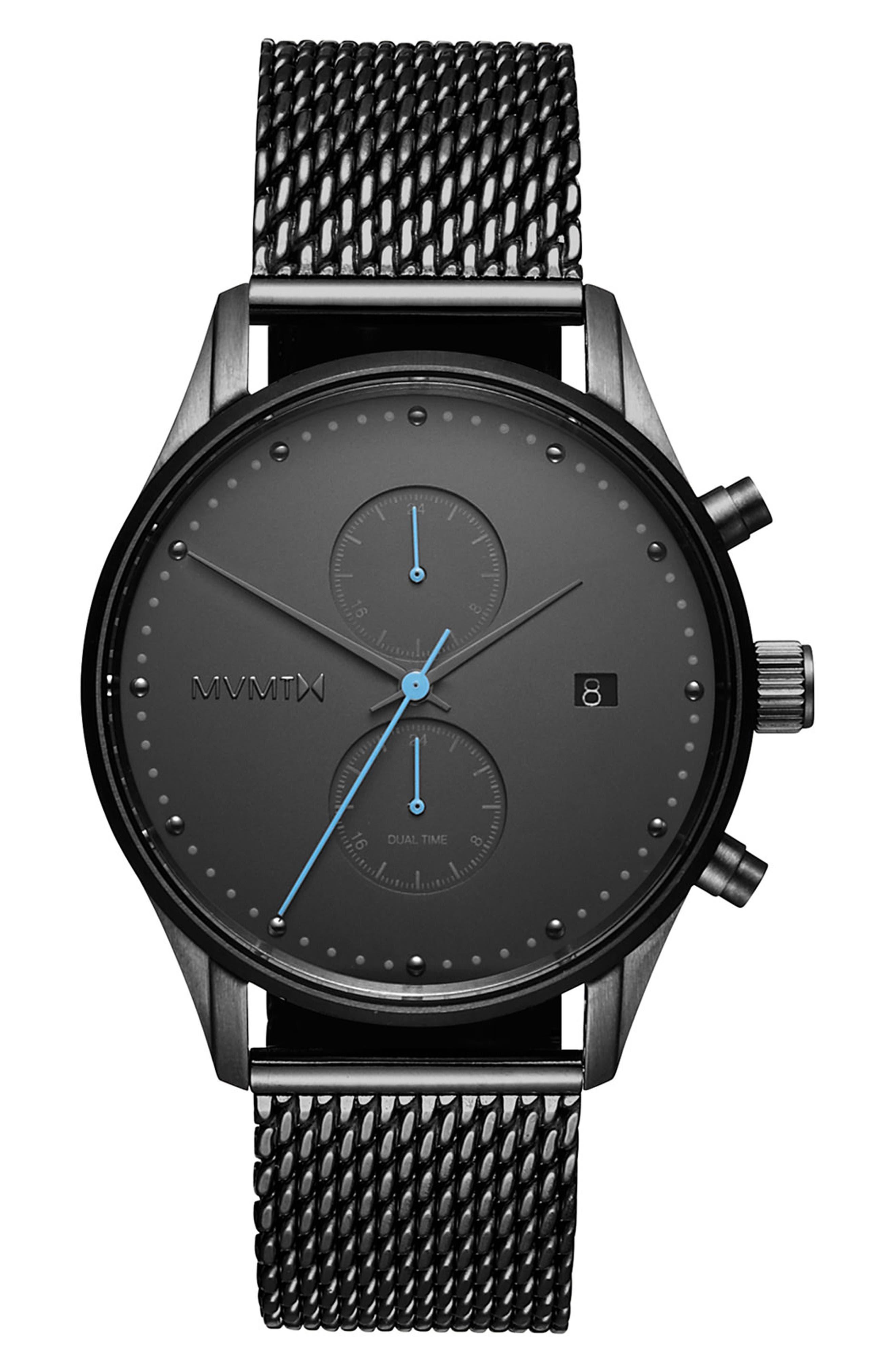 MVMT Cascade Mesh Strap Watch, 42mm, Main, color, BLACK/ GUNMETAL