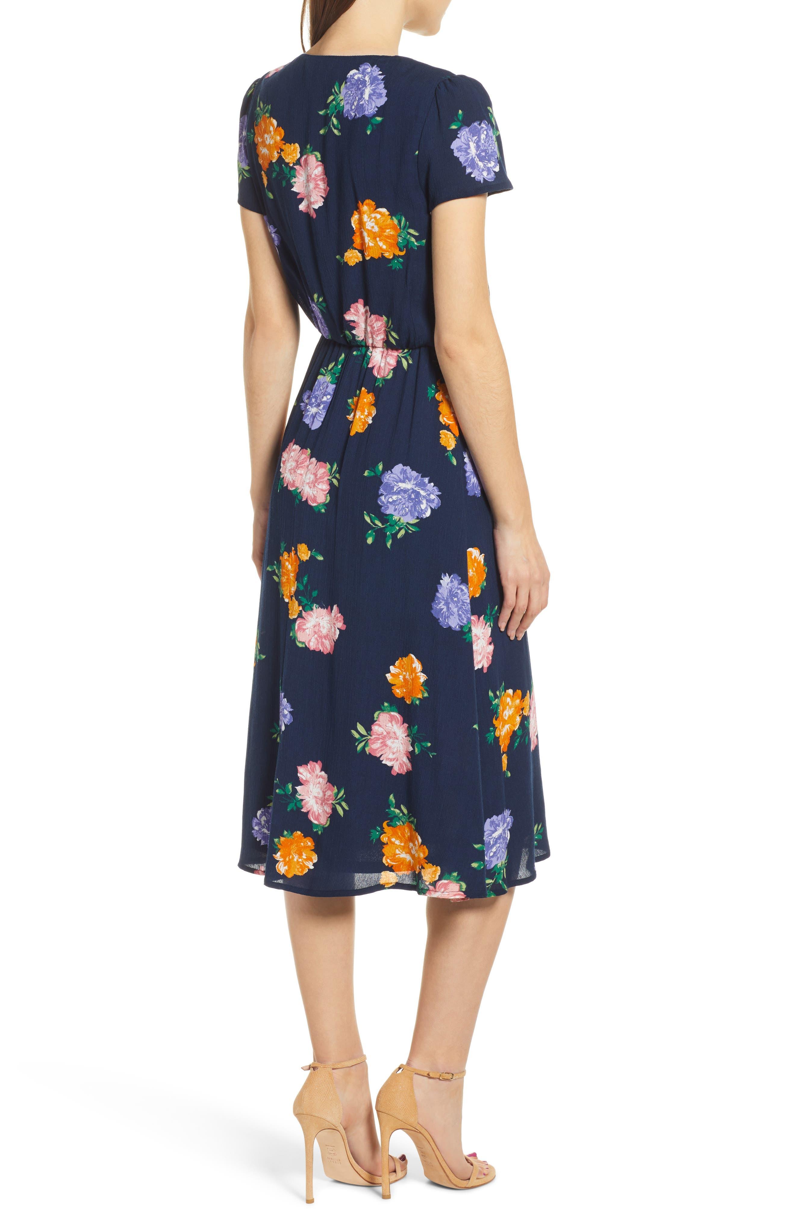 WAYF, Blouson Midi Dress, Alternate thumbnail 2, color, NAVY FLORAL