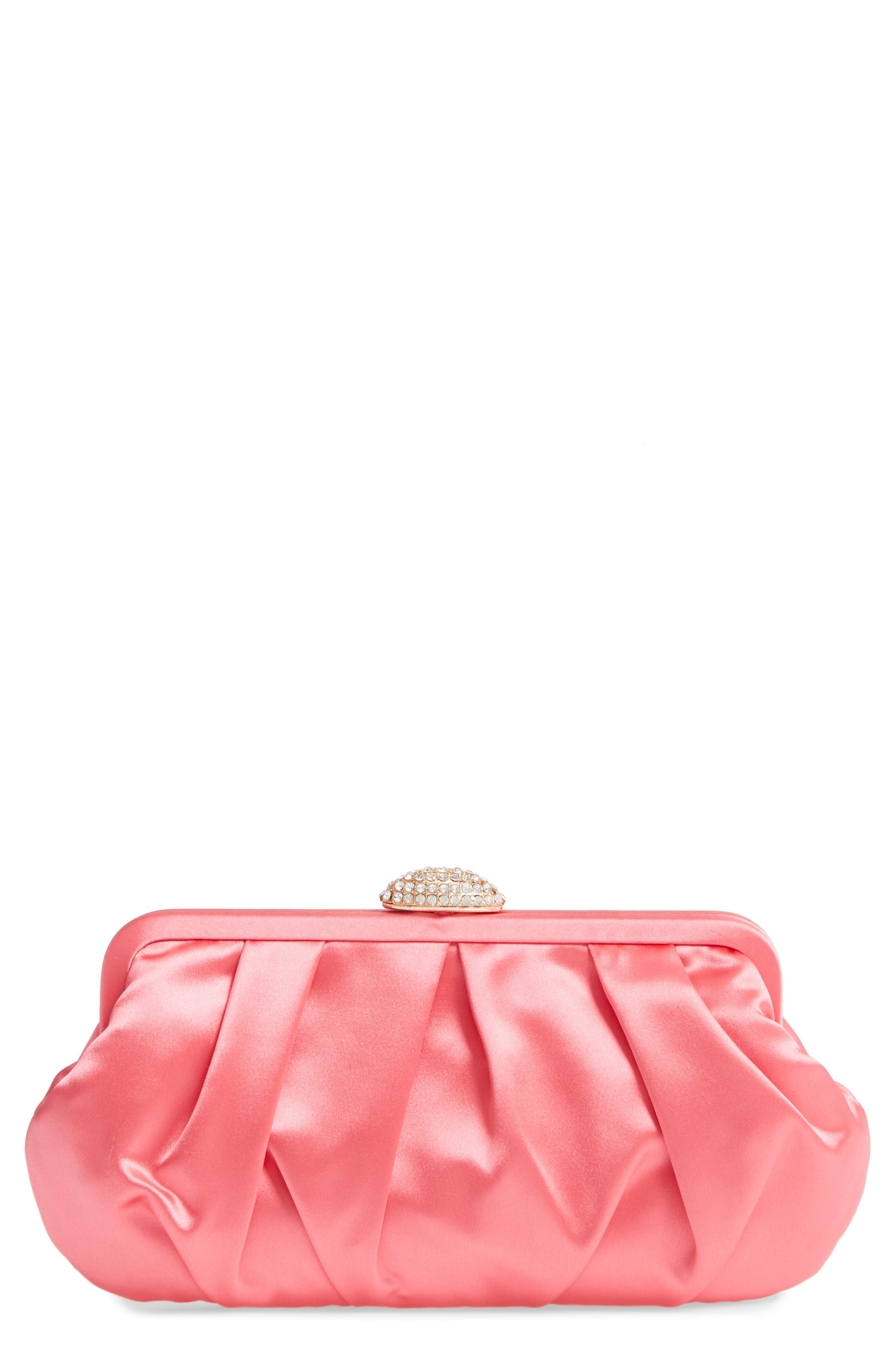 NINA Concord Pleated Satin Frame Clutch, Main, color, STRAWBERRY PUNCH