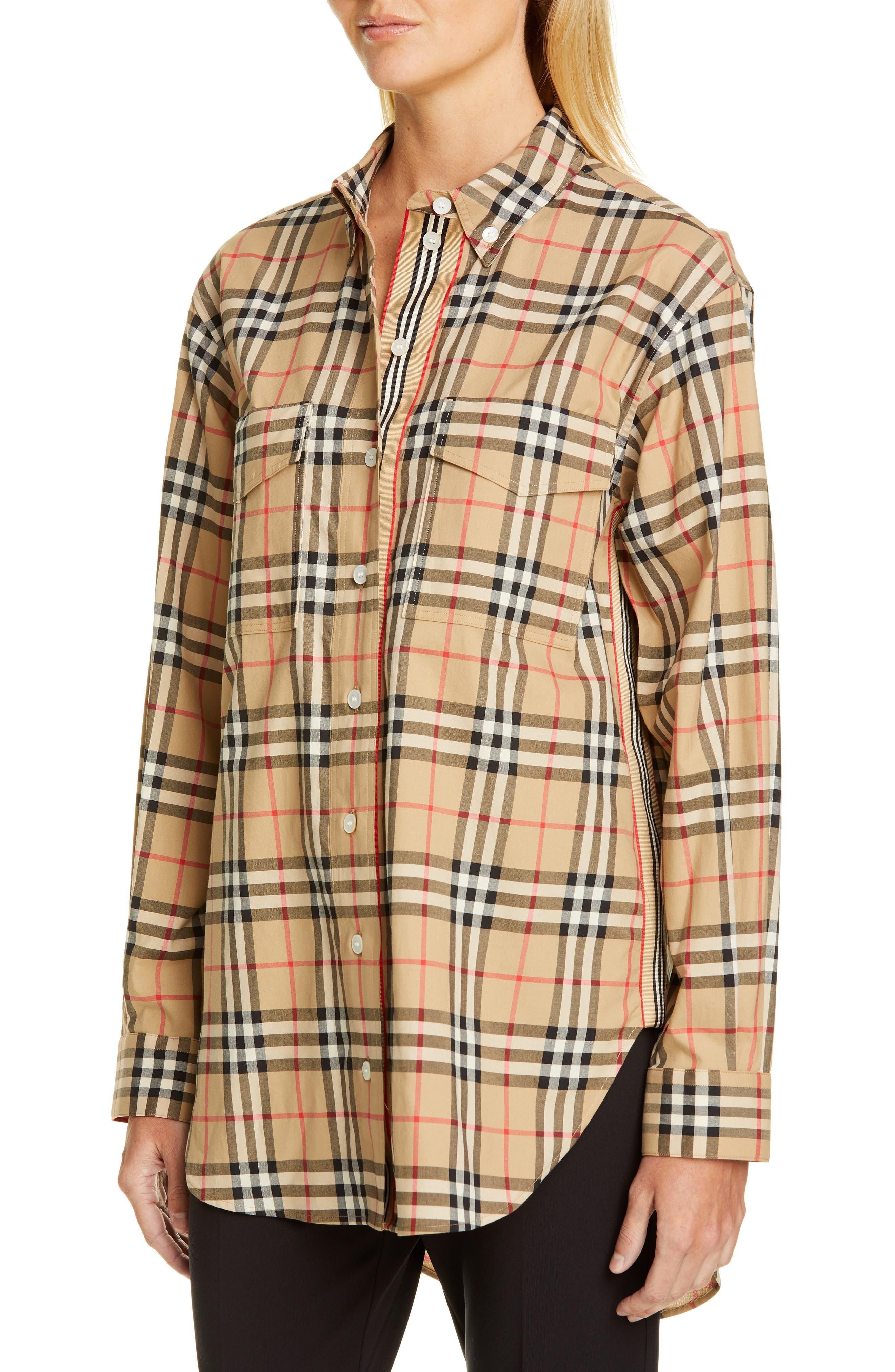 BURBERRY, Turnstone Check Shirt, Alternate thumbnail 4, color, ARCHIVE BEIGE IP CHK