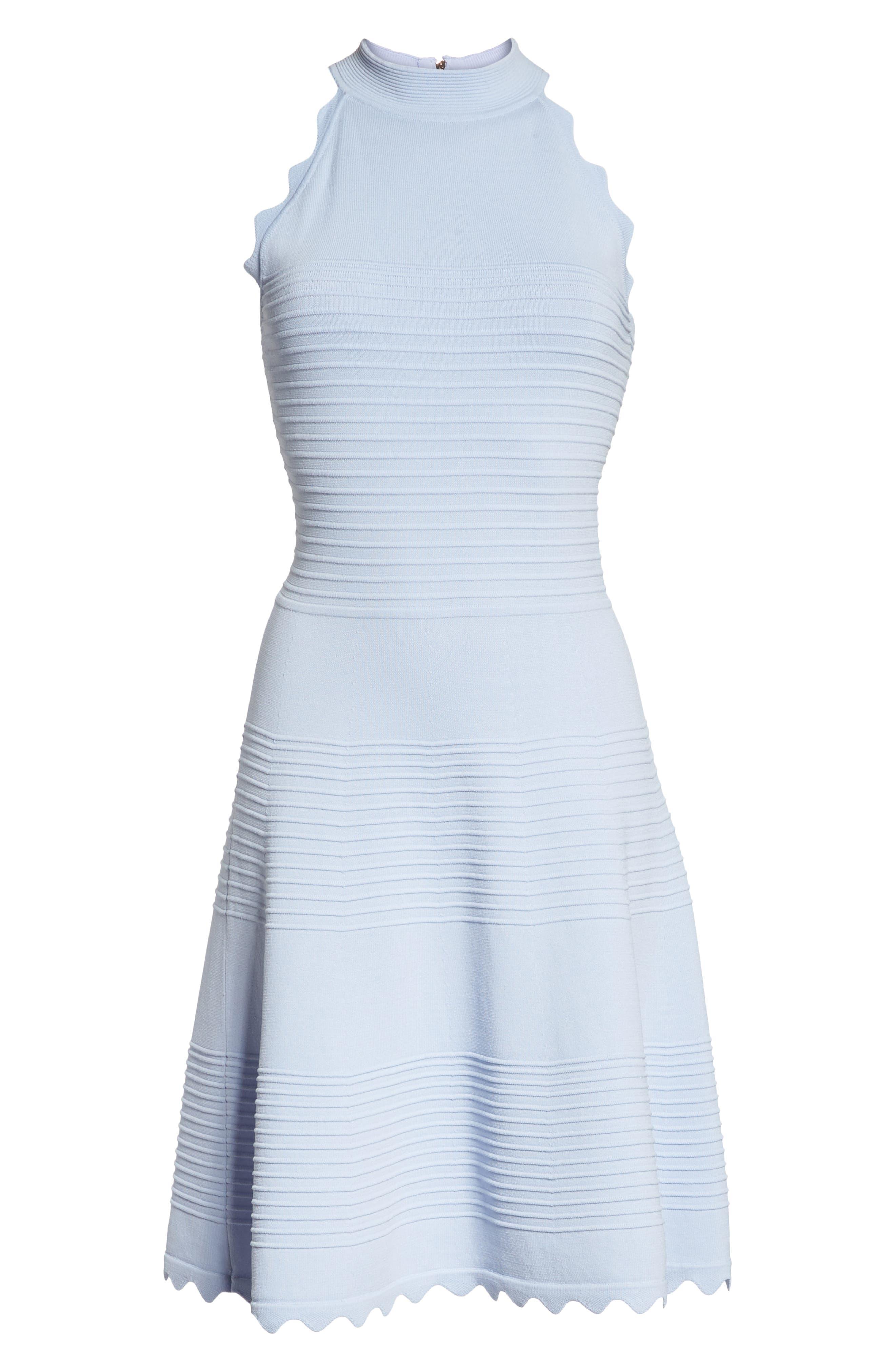 ELIZA J, Fit & Flare Sweater Dress, Alternate thumbnail 7, color, BLUE