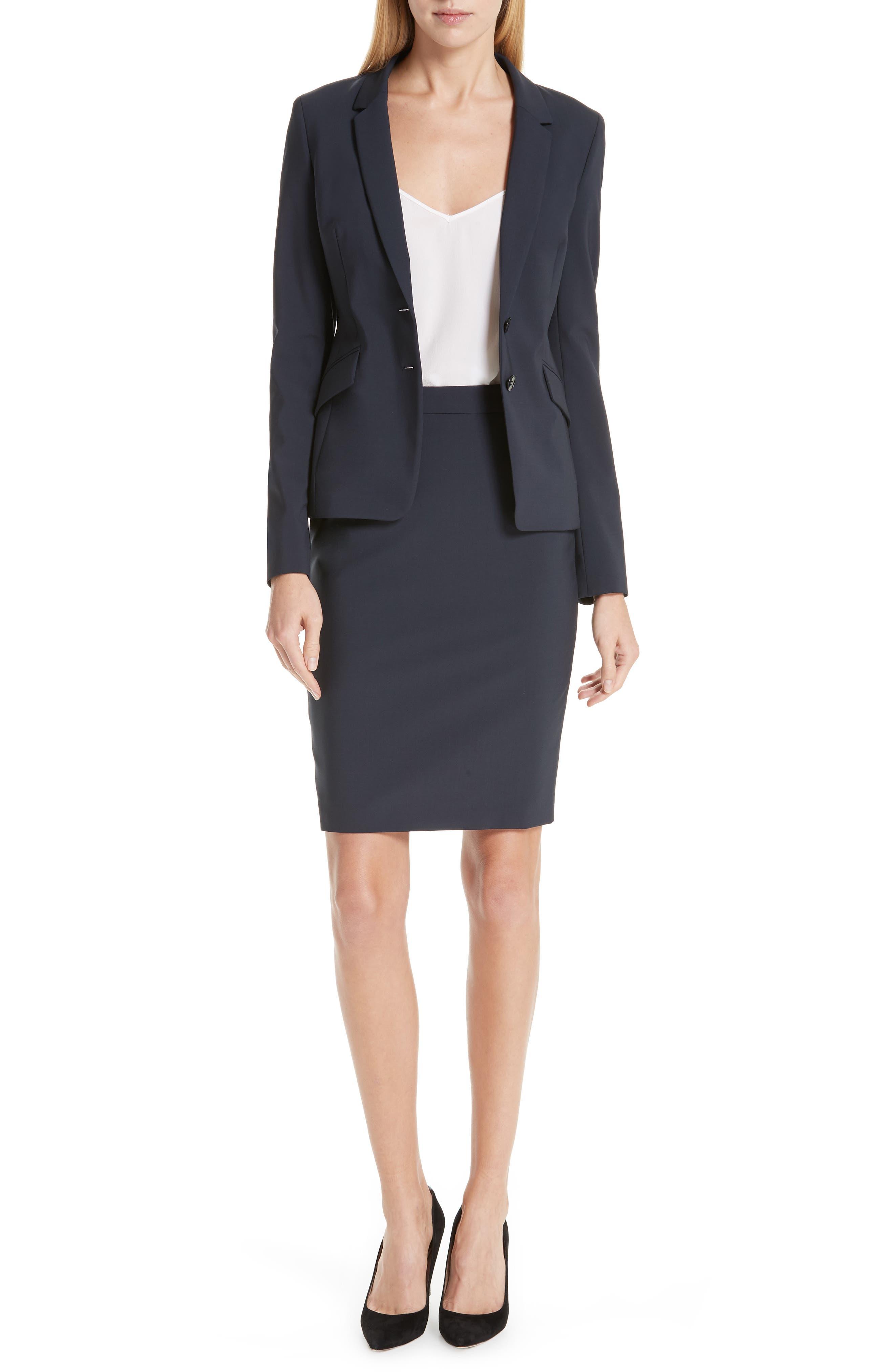 BOSS, Vilea Tropical Stretch Wool Pencil Skirt, Alternate thumbnail 7, color, NAVY