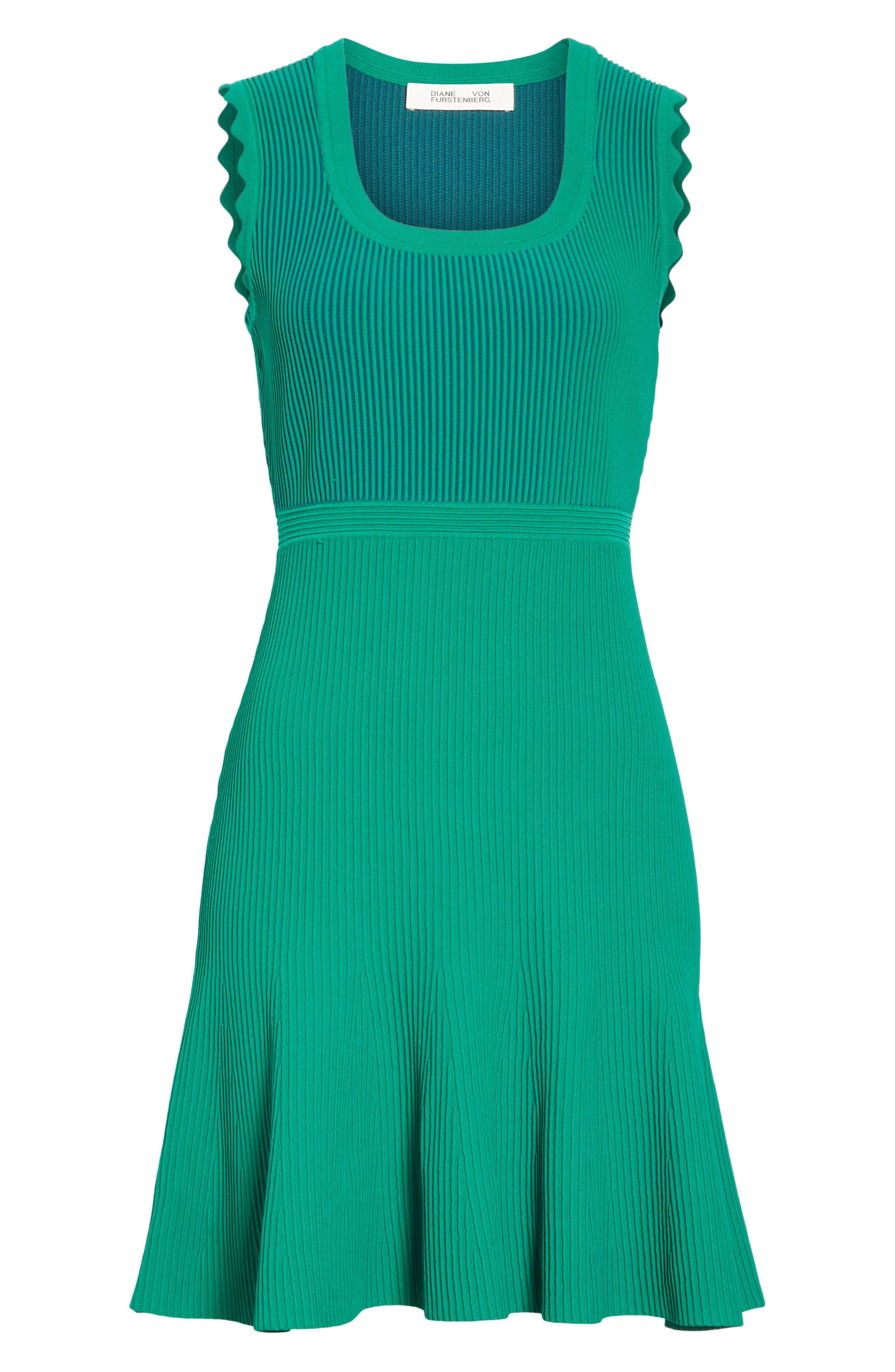 DVF, Adi Ribbed Knit Dress, Alternate thumbnail 7, color, EMERALD/ AVALON TEAL