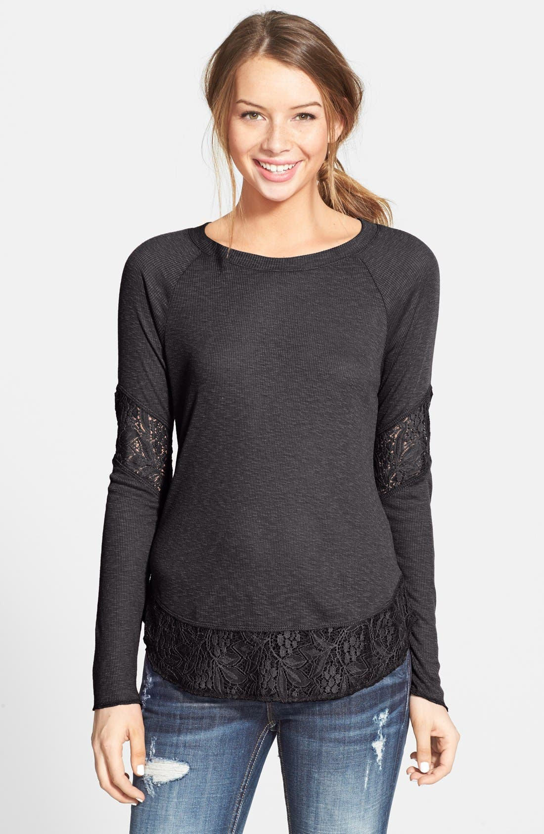 SUN & SHADOW Lace Trim Thermal Top, Main, color, 201