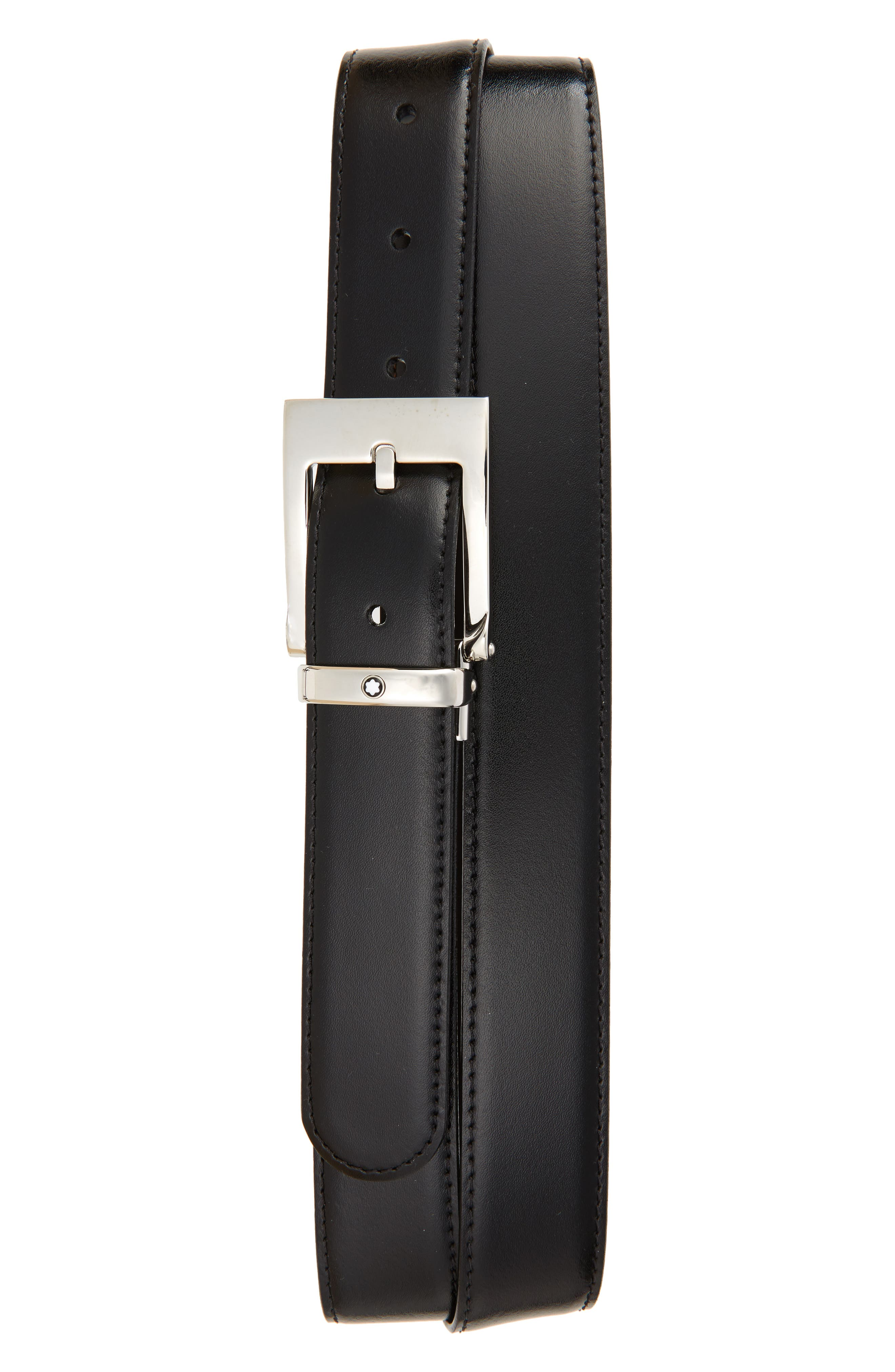 MONTBLANC Square Buckle Reversible Leather Belt, Main, color, BLACK/ BROWN