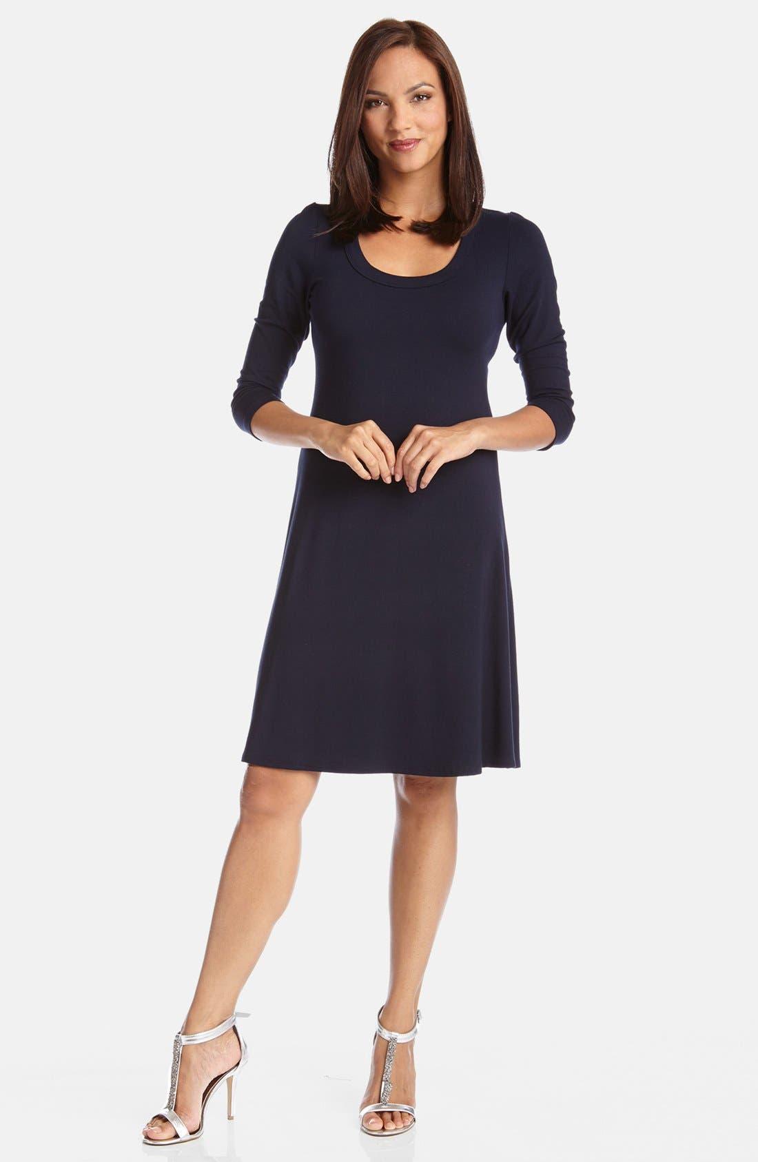 KAREN KANE, A-Line Jersey Dress, Main thumbnail 1, color, NAVY
