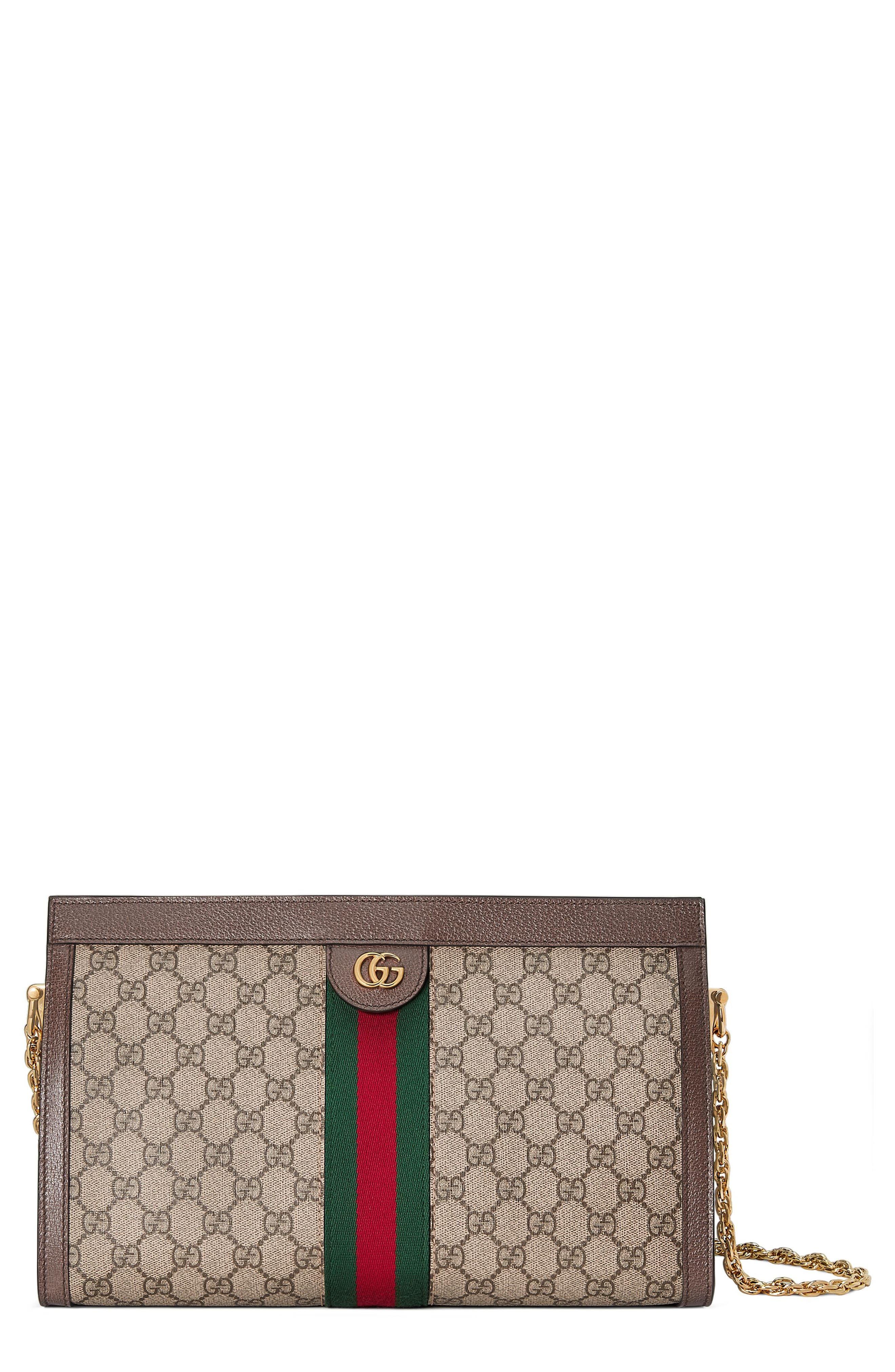 GUCCI, GG Supreme Canvas Shoulder Bag, Main thumbnail 1, color, BEIGE EBONY/ NERO/ VERT/ RED