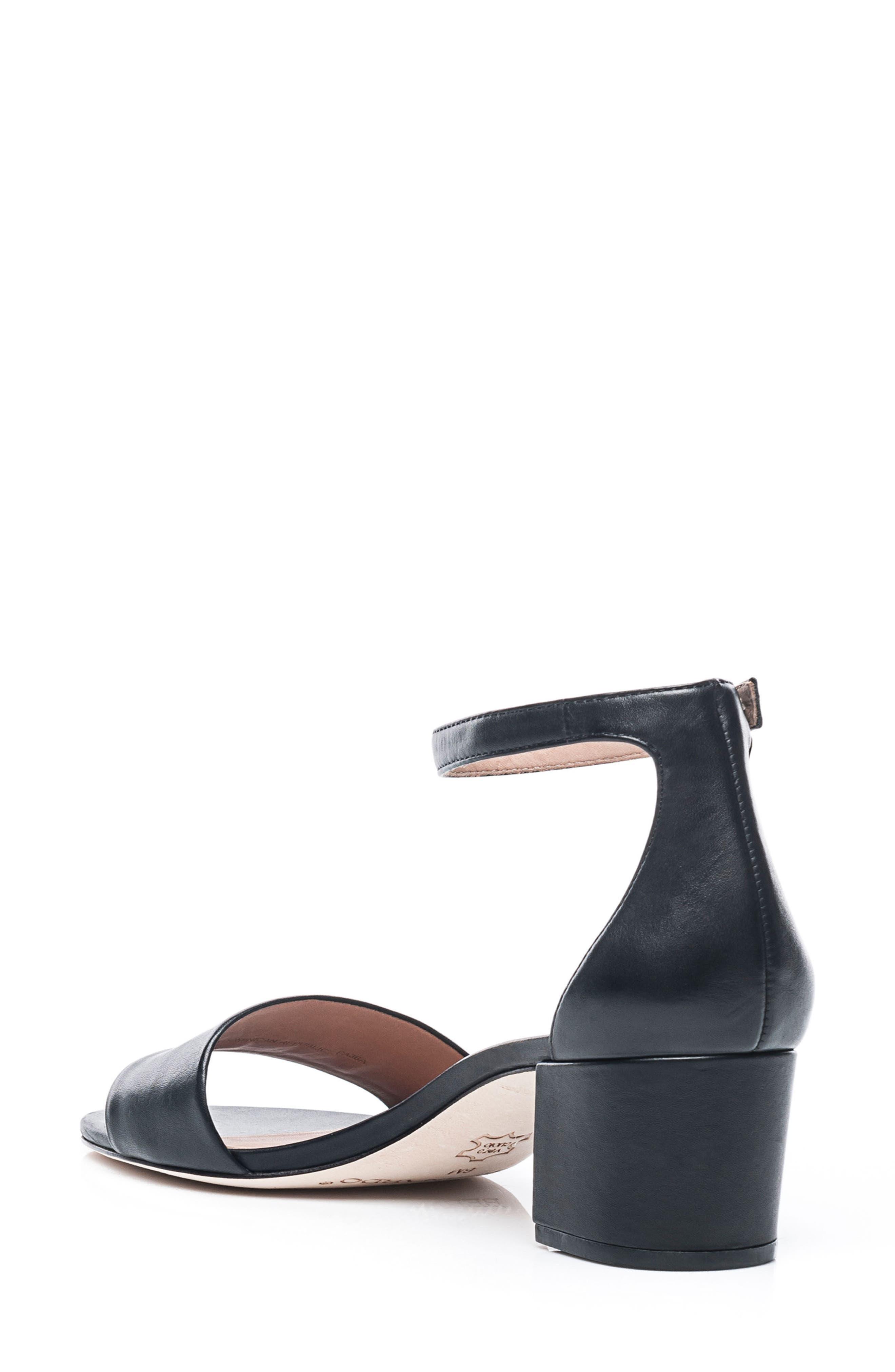 BERNARDO, Belinda Ankle Strap Sandal, Alternate thumbnail 2, color, BLACK LEATHER