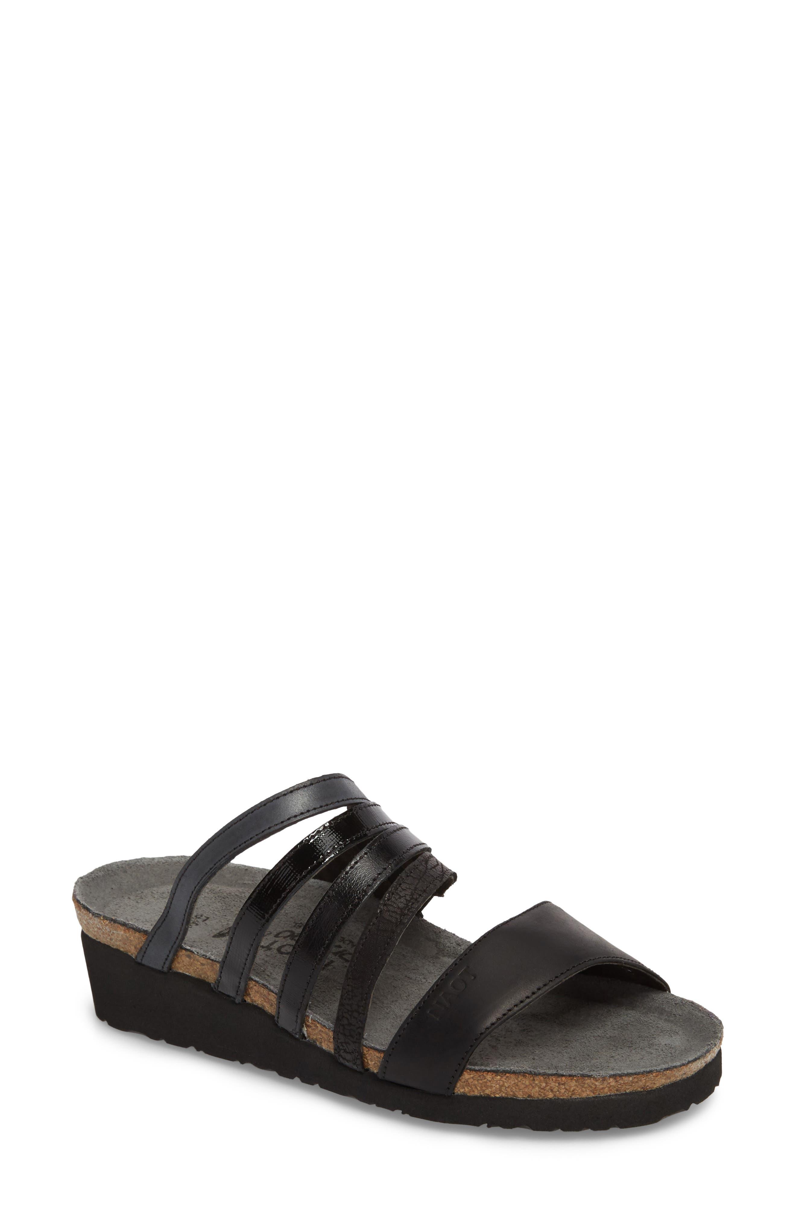NAOT Peyton Slide Sandal, Main, color, OILY COAL NUBUCK