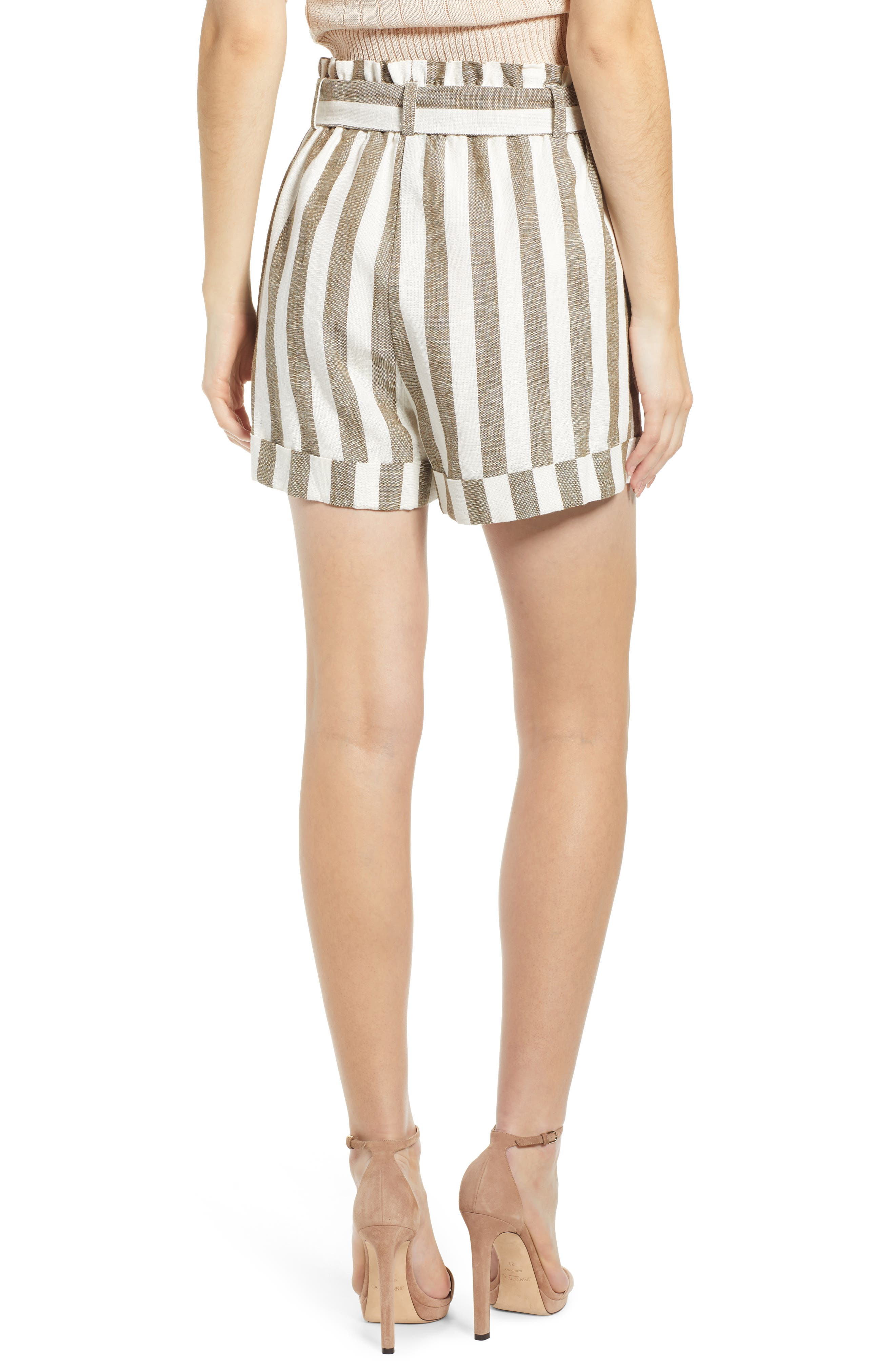 CHRISELLE LIM COLLECTION, Chriselle Lim Cherie Shorts, Alternate thumbnail 2, color, OLIVE STRIPE
