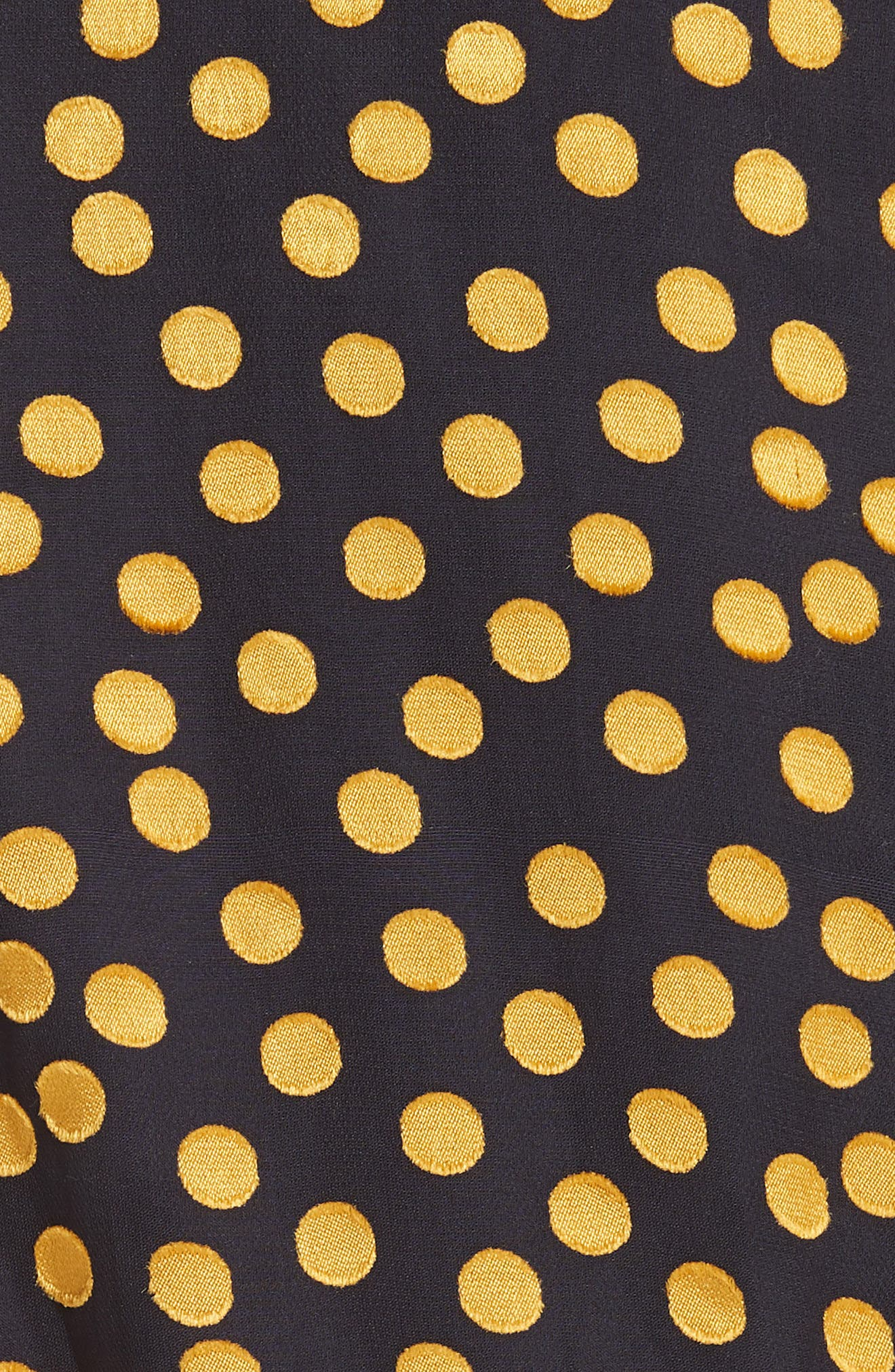 SALONI, Isa Polka Dot Devoré Satin Dress, Alternate thumbnail 5, color, BLACK/ YELLOW DOTS