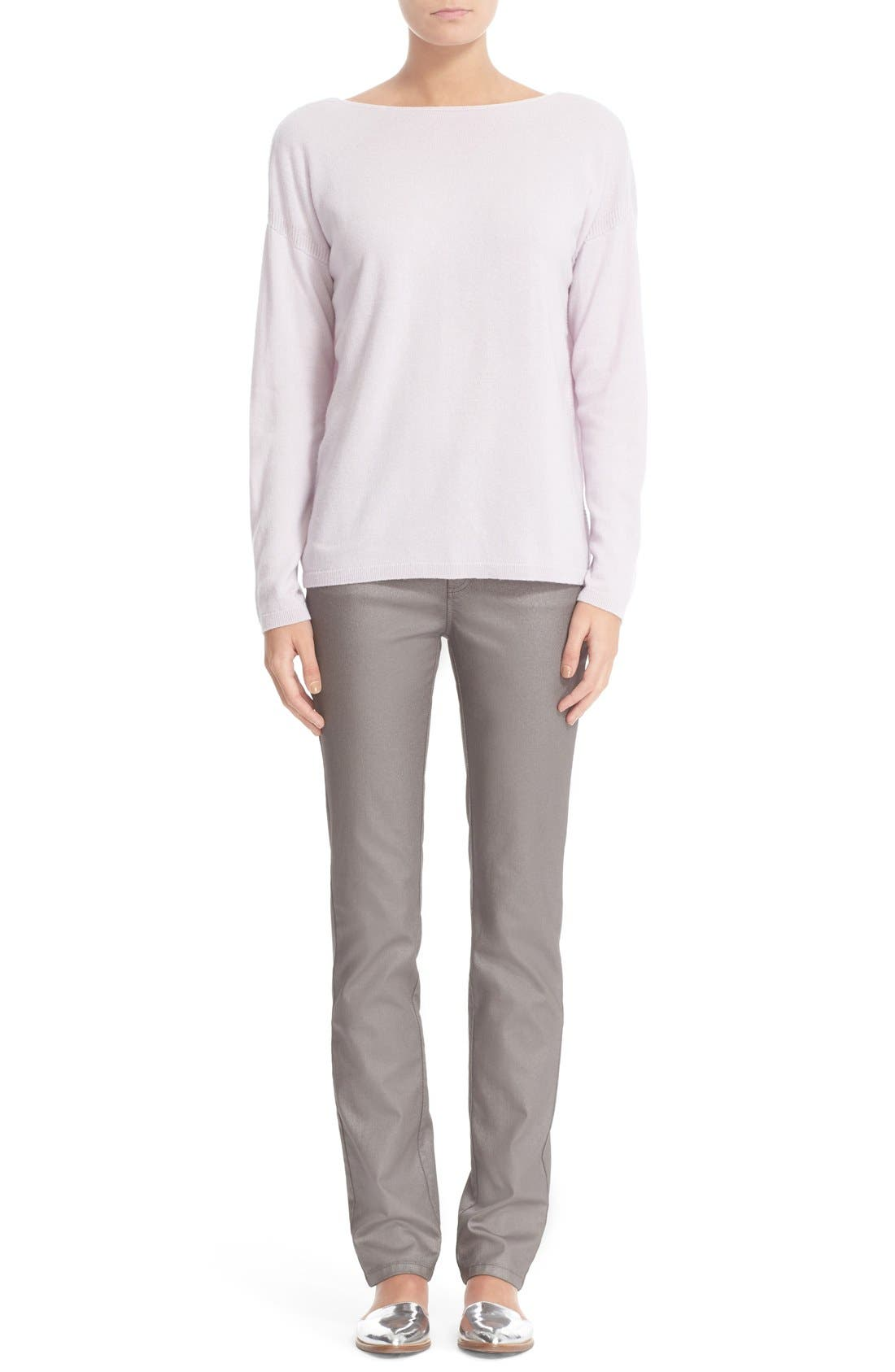 LAFAYETTE 148 NEW YORK, Curvy Fit Skinny Jeans, Alternate thumbnail 9, color, SILVER
