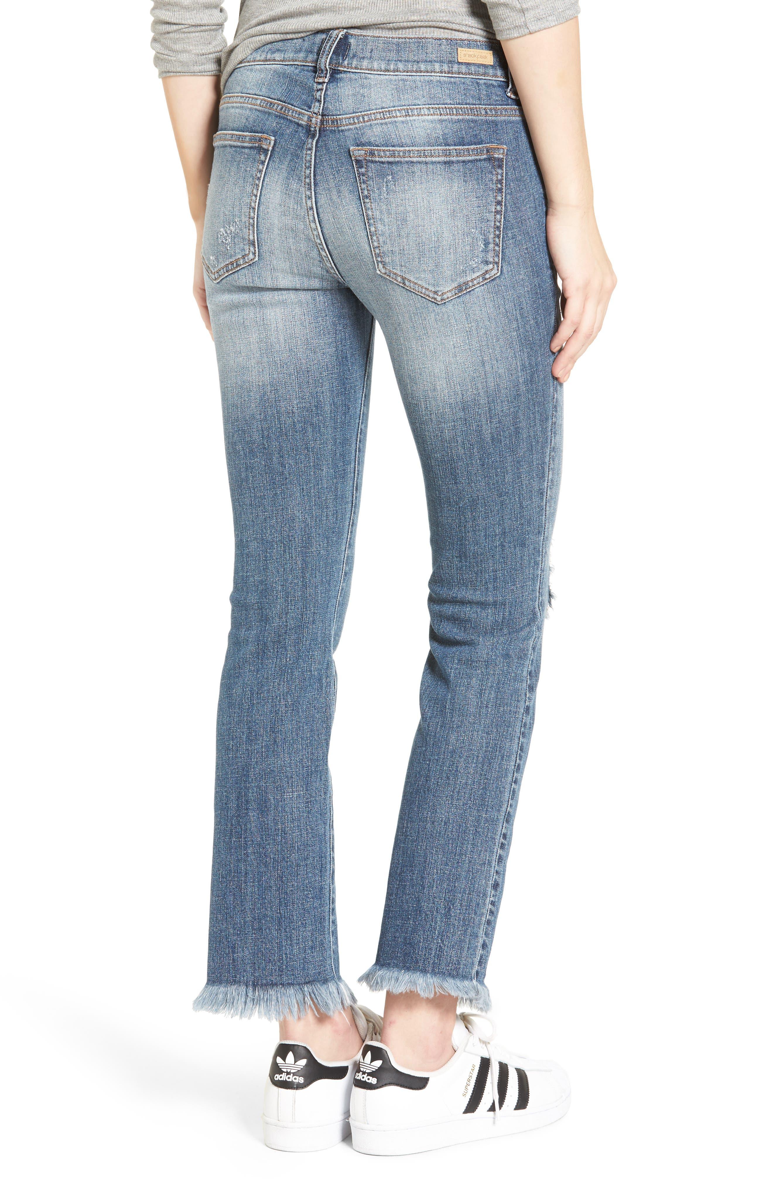 SP BLACK, Destroyed Frayed Hem Jeans, Alternate thumbnail 2, color, 400