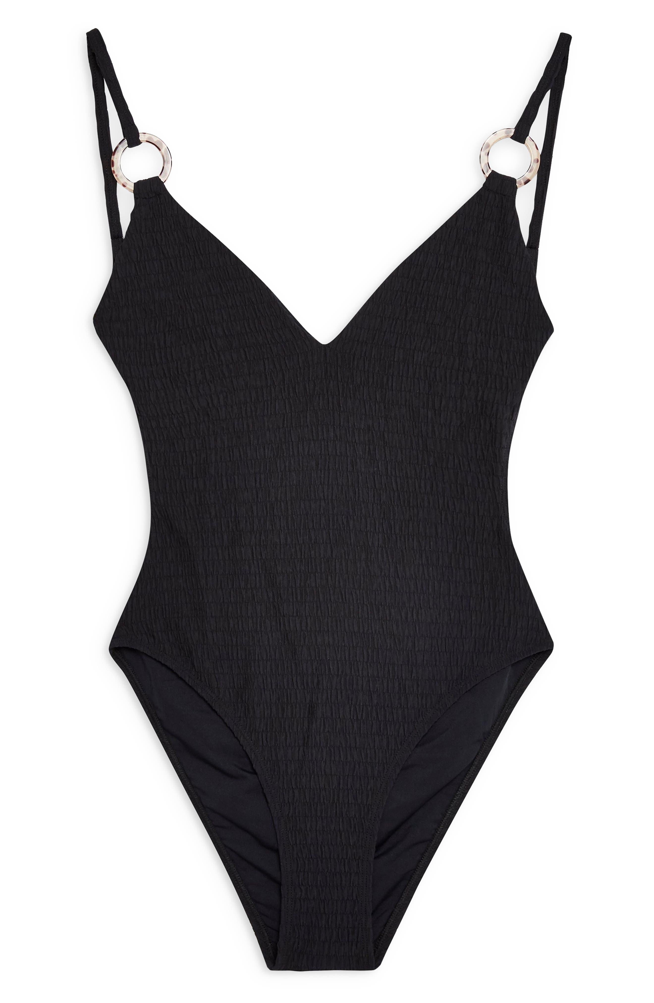 TOPSHOP, Plunge One-Piece Swimsuit, Alternate thumbnail 5, color, BLACK