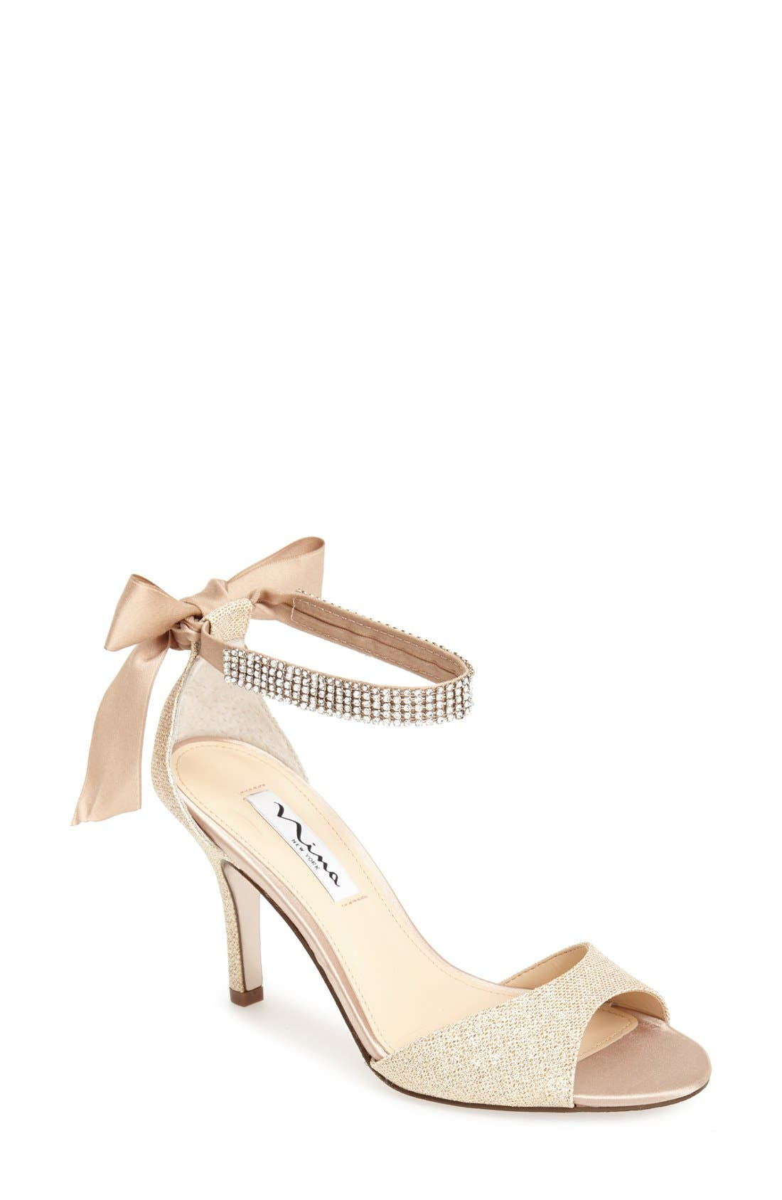 NINA, 'Vinnie' Crystal Embellished Ankle Strap Sandal, Main thumbnail 1, color, CHAMPAGNE GOLD