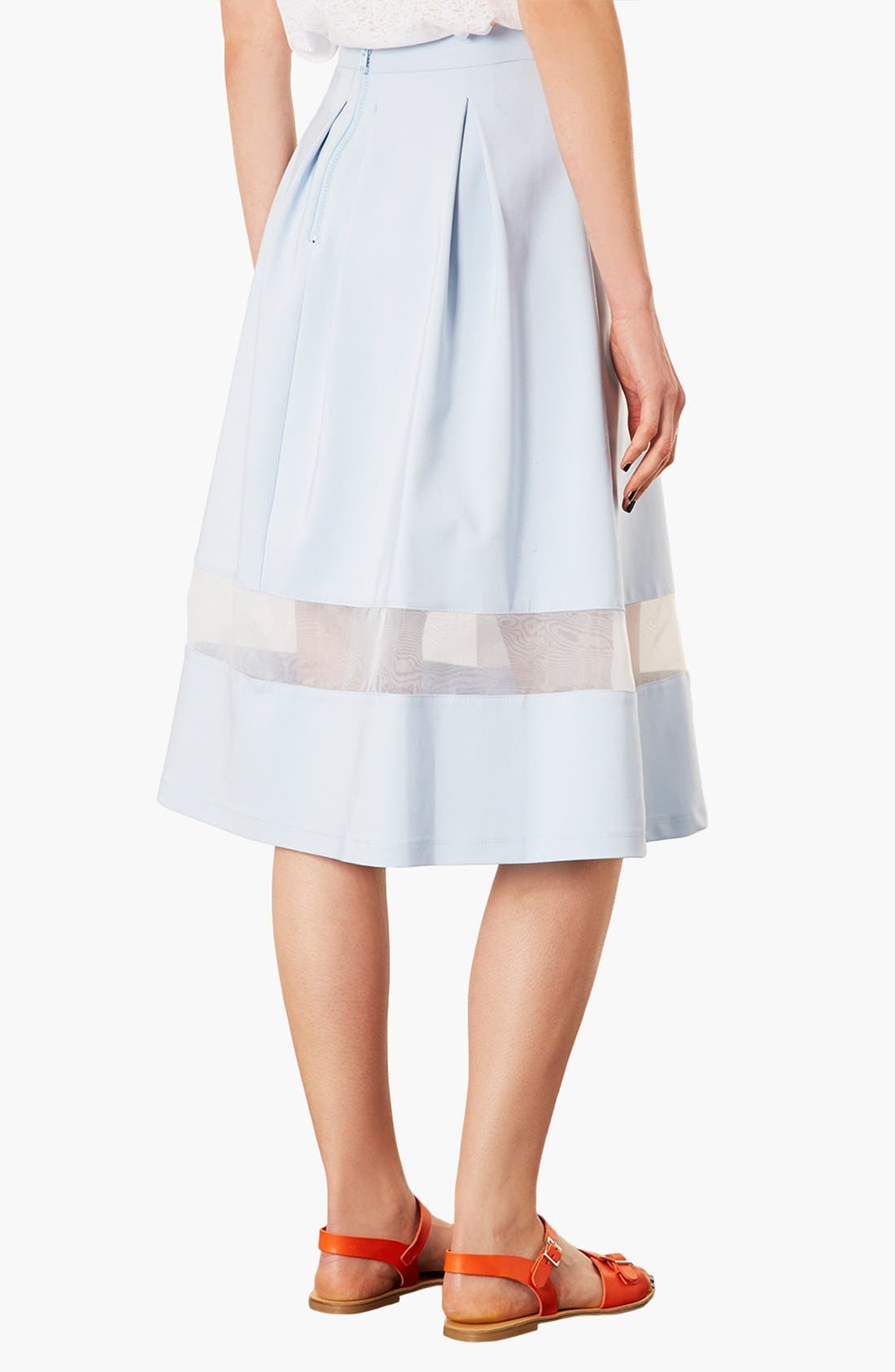 TOPSHOP, Organza Stripe Skirt, Alternate thumbnail 2, color, 450