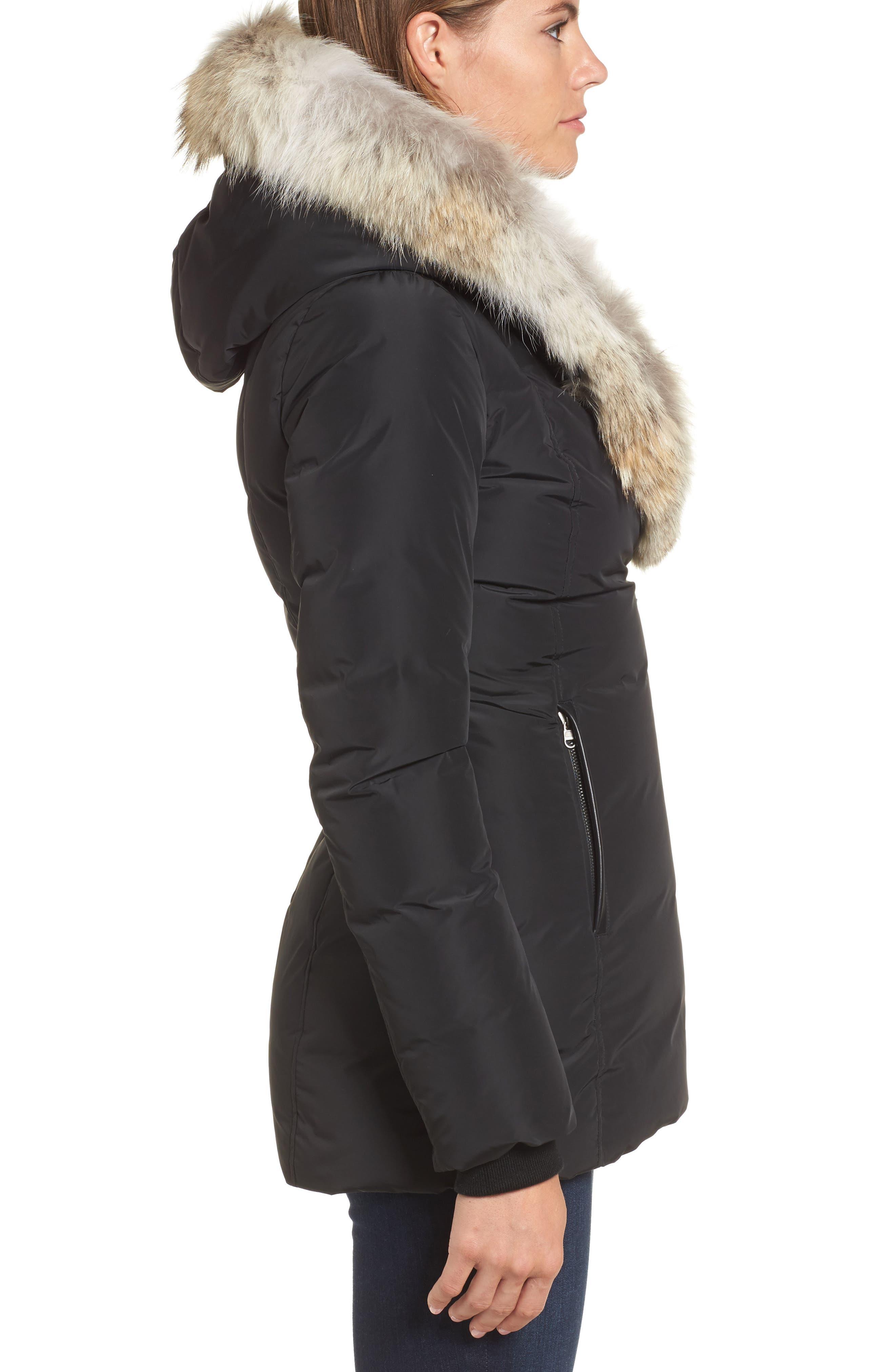 MACKAGE, Hooded Down Parka with Inset Bib & Genuine Fox Fur Trim, Alternate thumbnail 4, color, 001