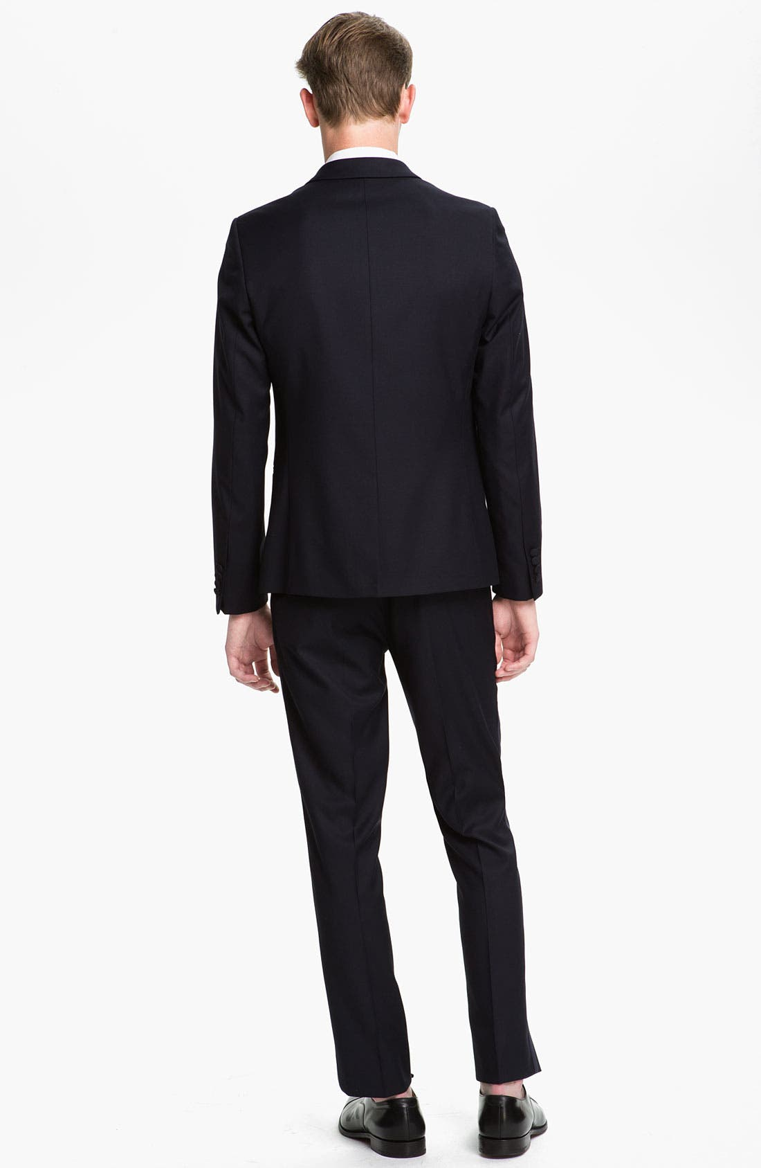 TOPMAN, Skinny Fit Single-Button Tuxedo Jacket, Alternate thumbnail 4, color, 410