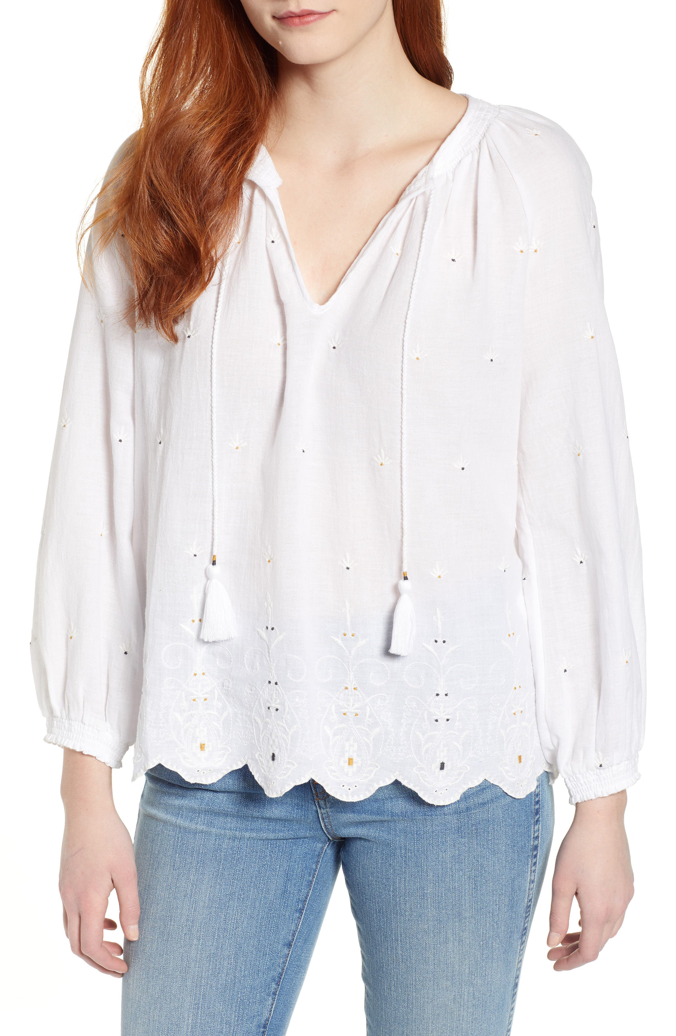 LUCKY BRAND, Eyelet Peasant Top, Main thumbnail 1, color, LUCKY WHITE