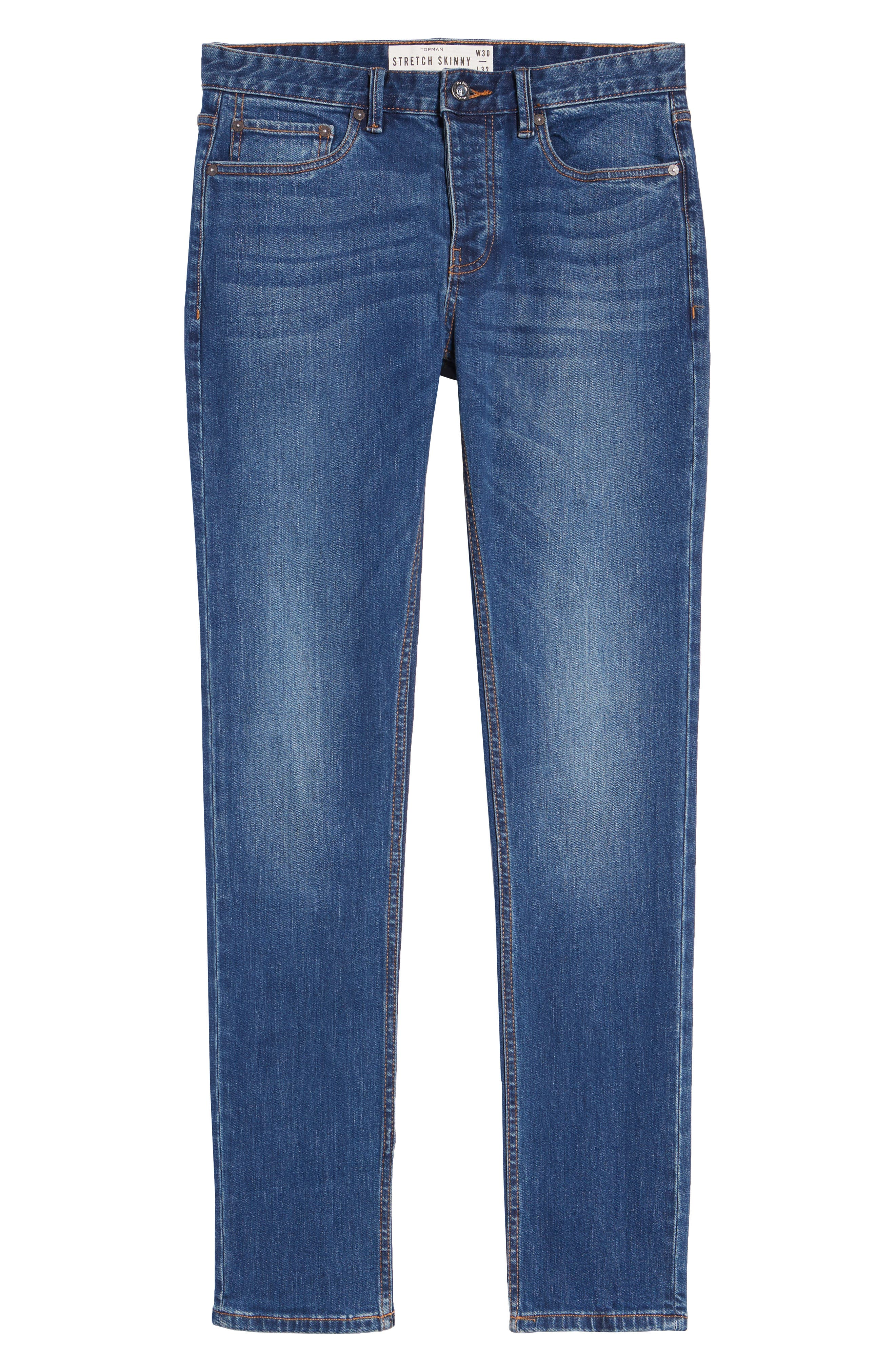 TOPMAN, Stretch Skinny Fit Jeans, Alternate thumbnail 4, color, BLUE
