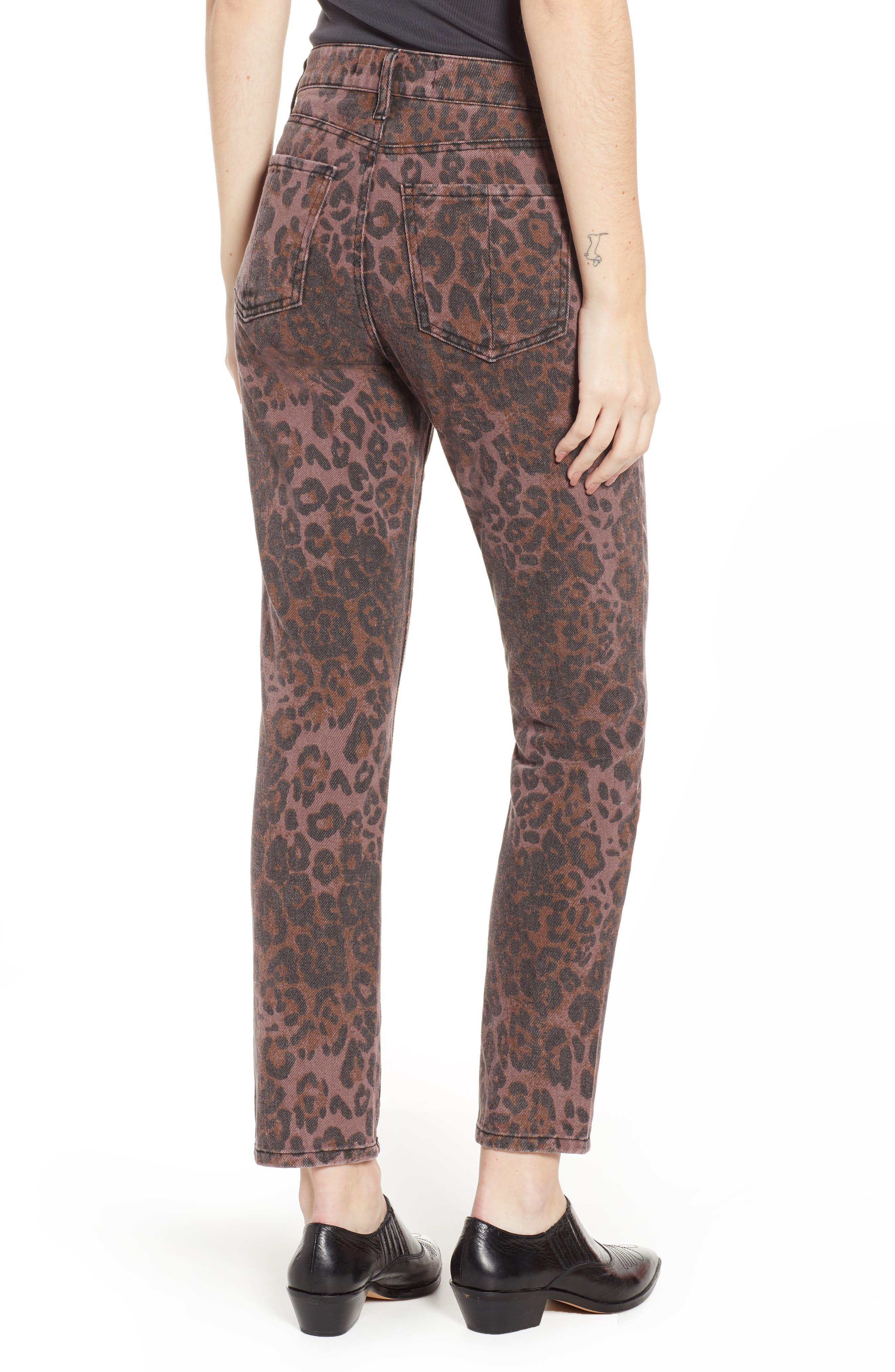 PROSPERITY DENIM, Leopard Print Skinny Jeans, Alternate thumbnail 2, color, LEOPARD