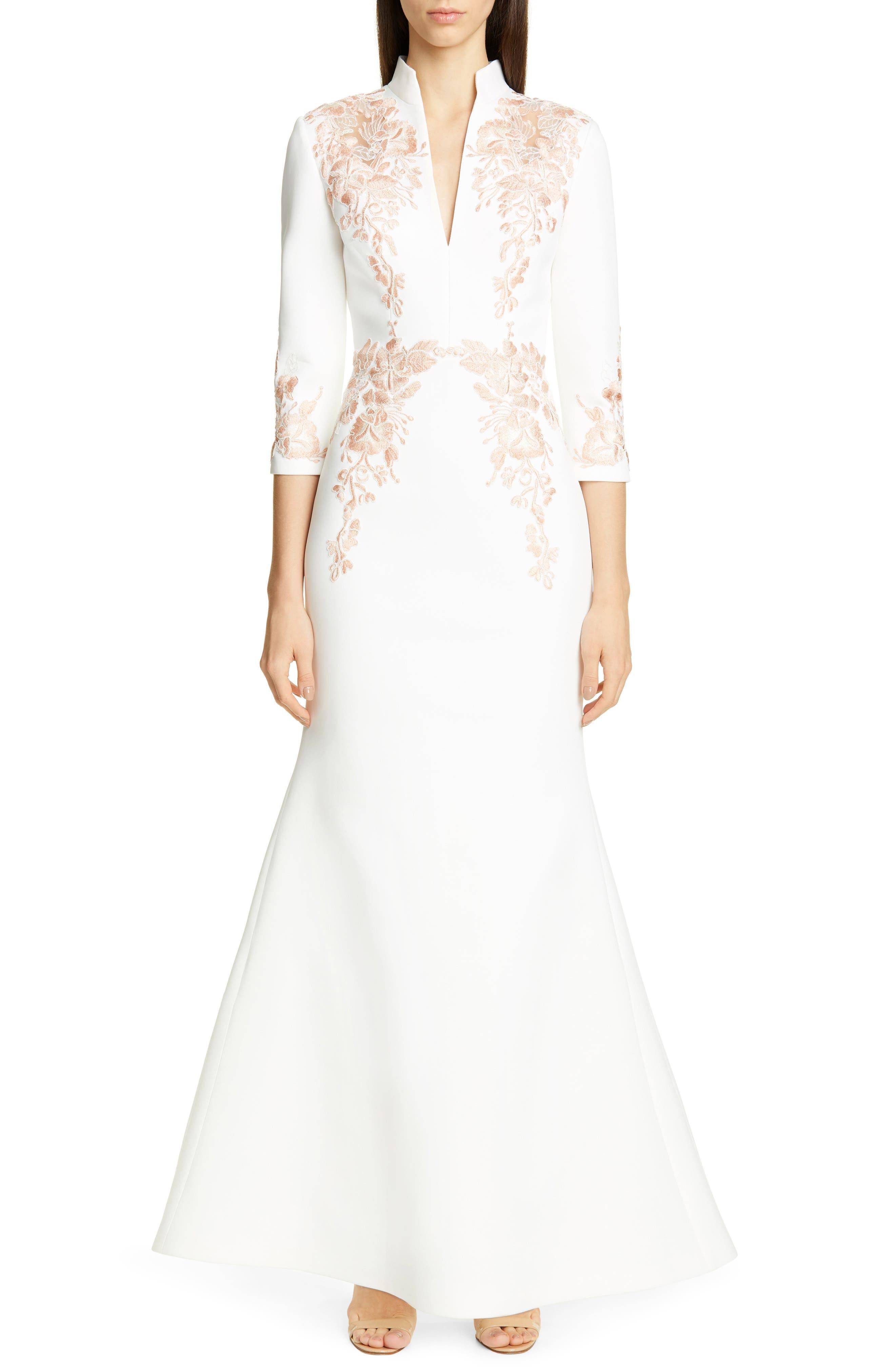 Badgley Mischka Collection Floral Applique Scuba Evening Dress, White