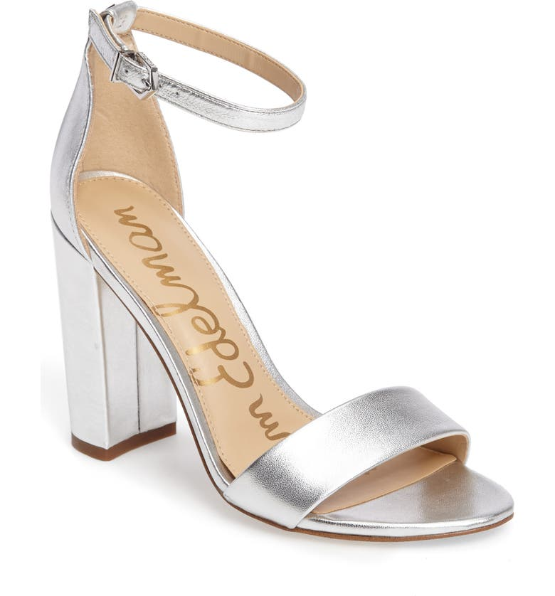 d993bd3c61cc Sam Edelman Yaro Ankle Strap Block Heel Sandals In Silver Leather ...