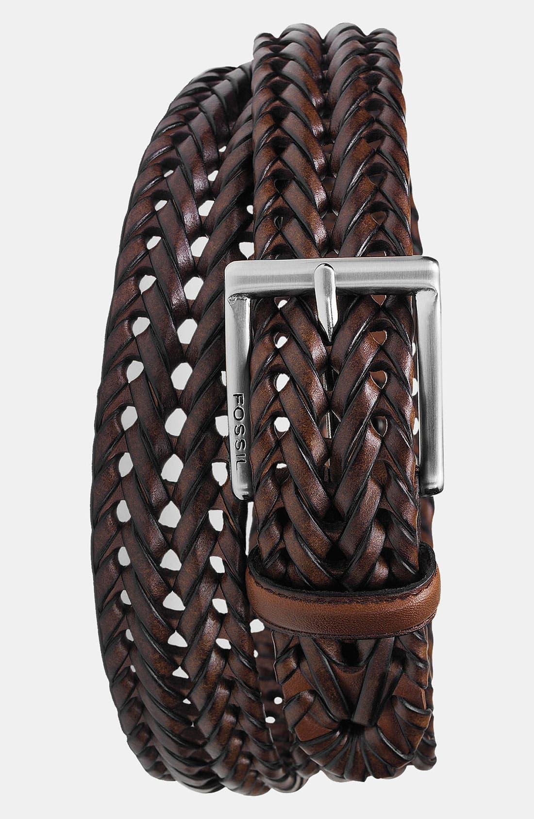 FOSSIL 'Myles' Belt, Main, color, COGNAC