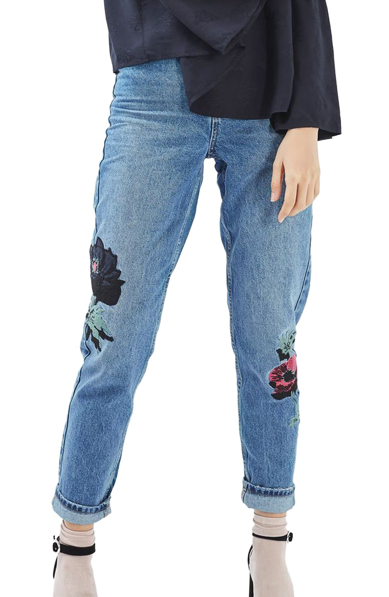 TOPSHOP Floral Embroidered Mom Jeans, Main, color, 400