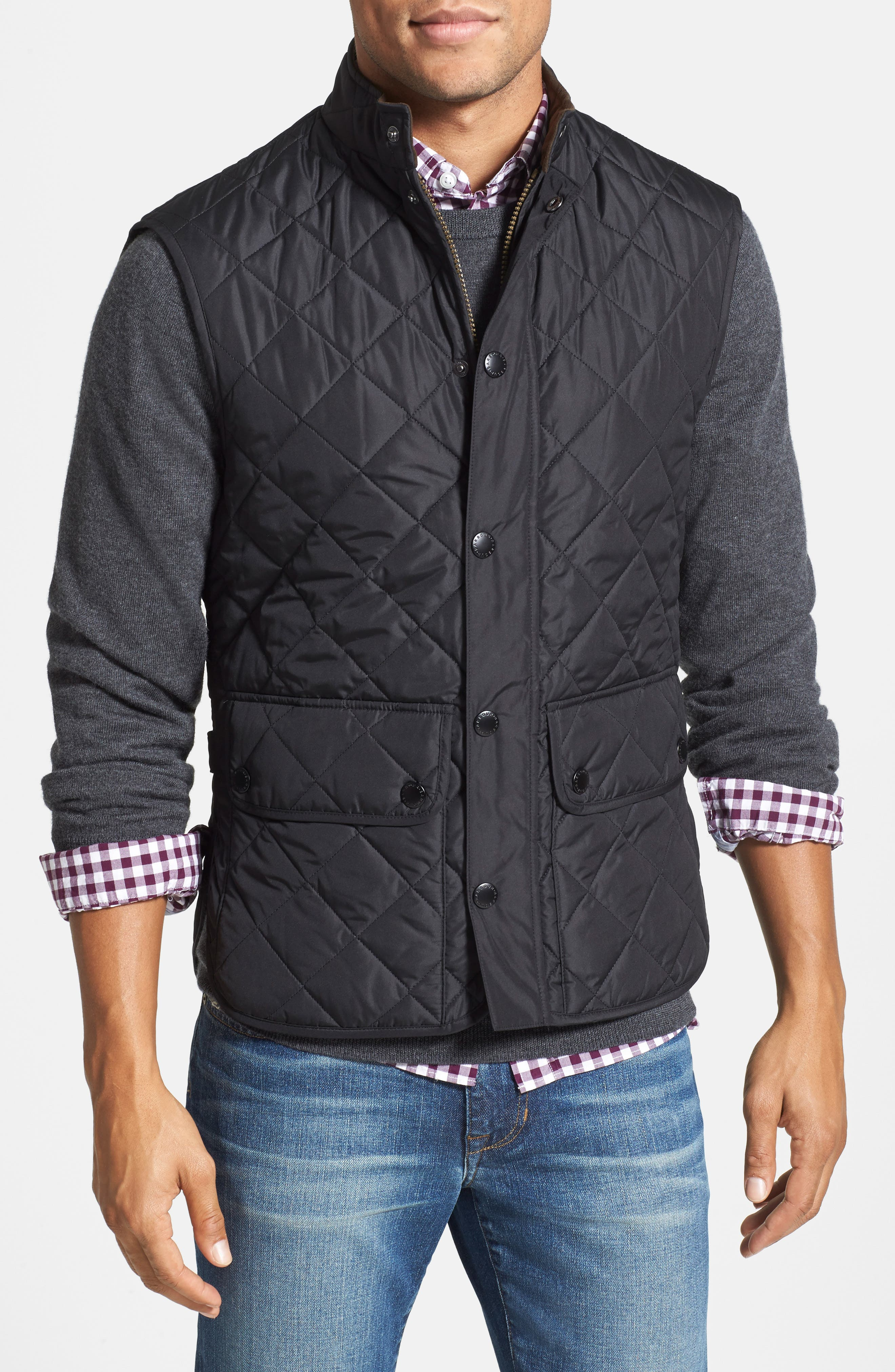 BARBOUR, Lowerdale Quilted Vest, Alternate thumbnail 5, color, 001
