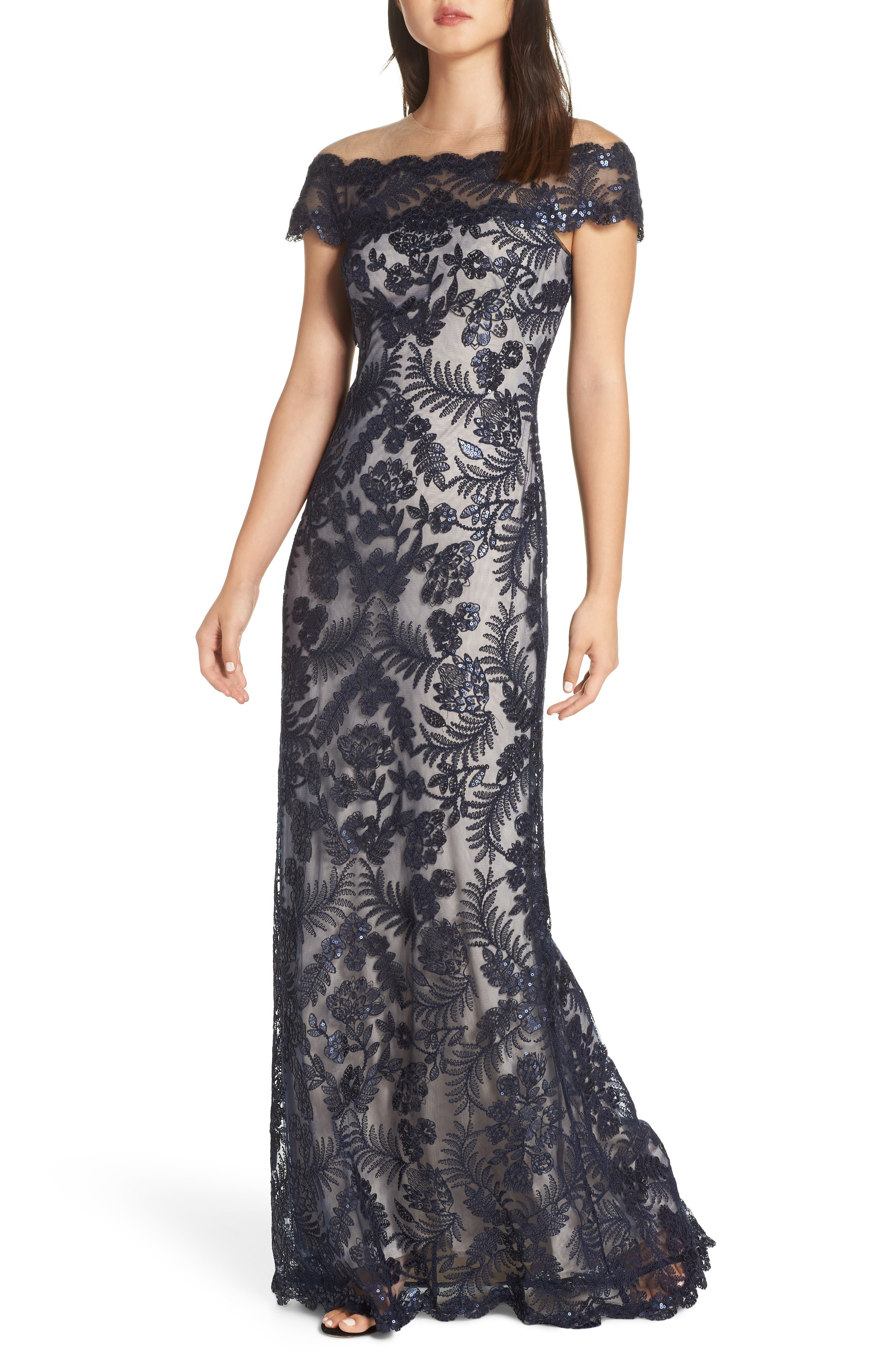 TADASHI SHOJI Illusion Neck Sequin Lace Gown, Main, color, 410
